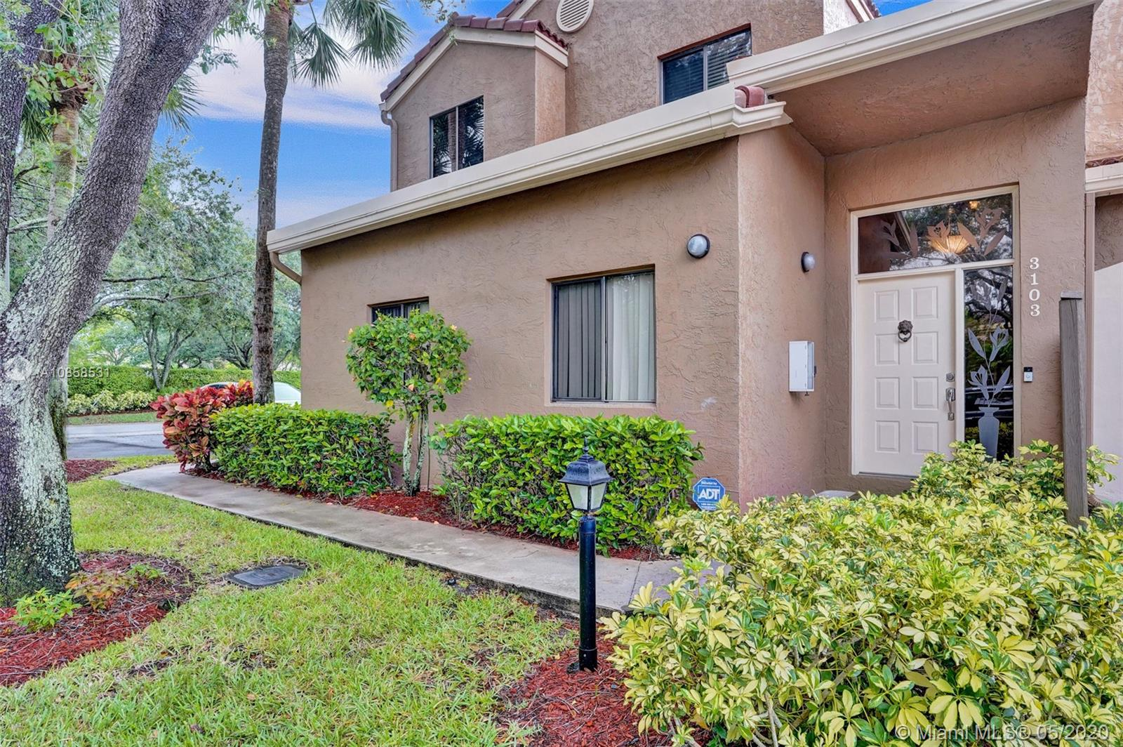 STUNNING, UPGRADED 3 BR/1 CG PARKLAND CARRIAGE HOME . NEWER CABINETS, SS APPLIANCES, TILE ON THE DIAGONAL EXCEPT CARPETED MBR, CUSTOM WINDOW TREATMENTS, AND COVERED, SCREENED BALCONY. EXTRA PARKING SPACE. NEWER AC (4 YRS.,) NEW HW TANK.  COMMUNITY SALT-WATER POOL AND CLUBHOUSE WITH PARTY ROOM/KITCHEN FOR RESIDENTS' SPECIAL OCCASIONS.  ACROSS THE STREET FROM HUGE TERRAMAR PARK WITH BASEBALL, BASKETBALL, SOCCER, PICKLE BALL, TENNIS, JOGGING TRAILS AND PLAYGROUND/PICNIC/BARBECUE AREAS. BEST SCHOOLS IN BROWARD COUNTY! SHOWINGS START SATURDAY 5/16. CALL LA FOR APPOINTMENT.