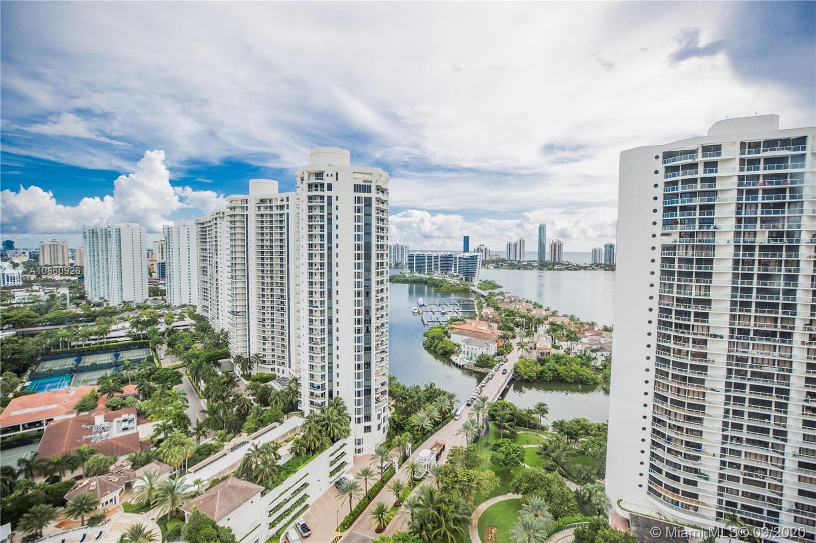Incredible Opportunity to Own a Double Unit in Bellini at Williams Island! Stunning Views of Bay & Ocean. Super Spacious Floor Plan w/ 10' Ceilings. Floor to Ceiling Glass Windows all through out Home as well as White Marble Floors, Electric Window Shades, His & Hers Baths & Closets! Unit is Offered Fully Furnished! Live In a Penthouse w/o Paying a Penthouse Price! TENANT OCCUPIED, 24-48 HR NOTICE REQUIRED