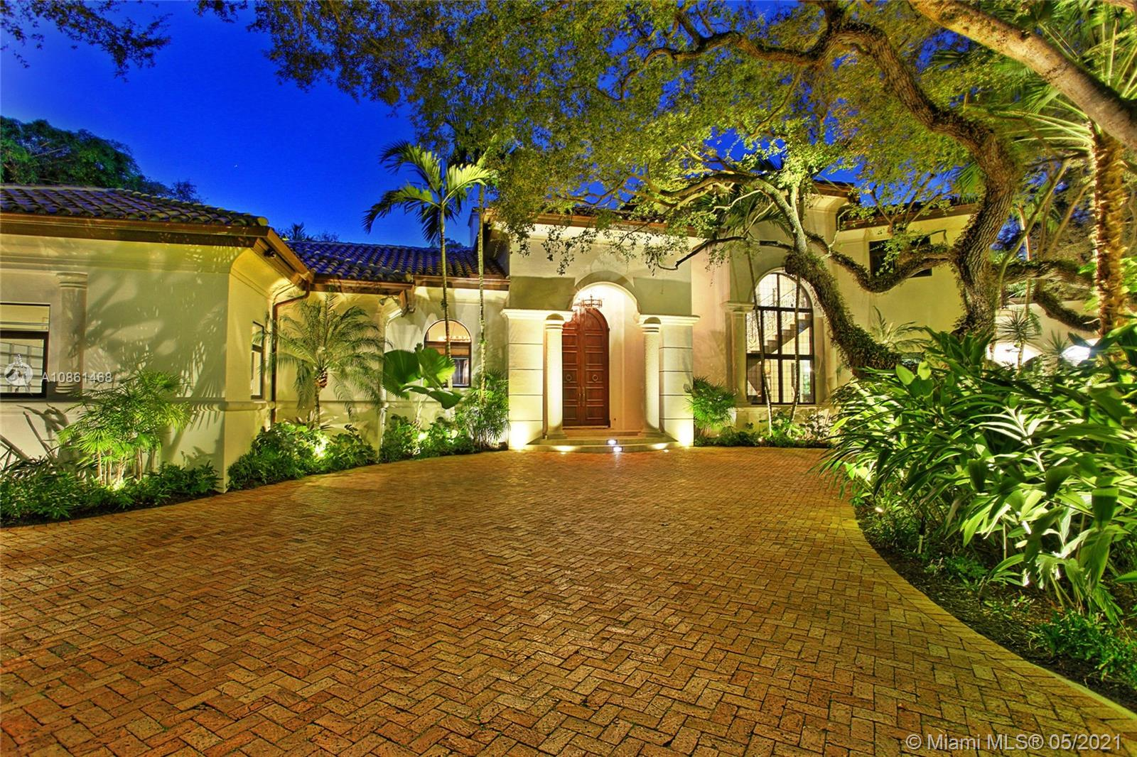 Located in the gated Snapper Creek Lakes community this amazing 2-story estate sits on a 45,430 SF lot surrounded by a mature oak canopy. The remodeled 6BR/8+1BA home offers 9,807 SF (total area under roof as per building specs) & includes a separate 2BR/2BA guest suite. Spacious living room w/fireplace, private dining area, a bar w/256-bottle glass wine display, natural stone finishes, family room & movie theater. The open gourmet kitchen sports eat-in marble center island, custom cabinetry & top-of-the-line Wolf, Sub-Zero & Miele appliances. 2nd floor principal suite features marble floors, private balcony overlooks the pool & Carrara marble bathroom w/steam & rain shower w/sunken spa tub. Resort-style outdoor areas include pool w/waterfall & hot tub, lush landscaping & private fire pit.