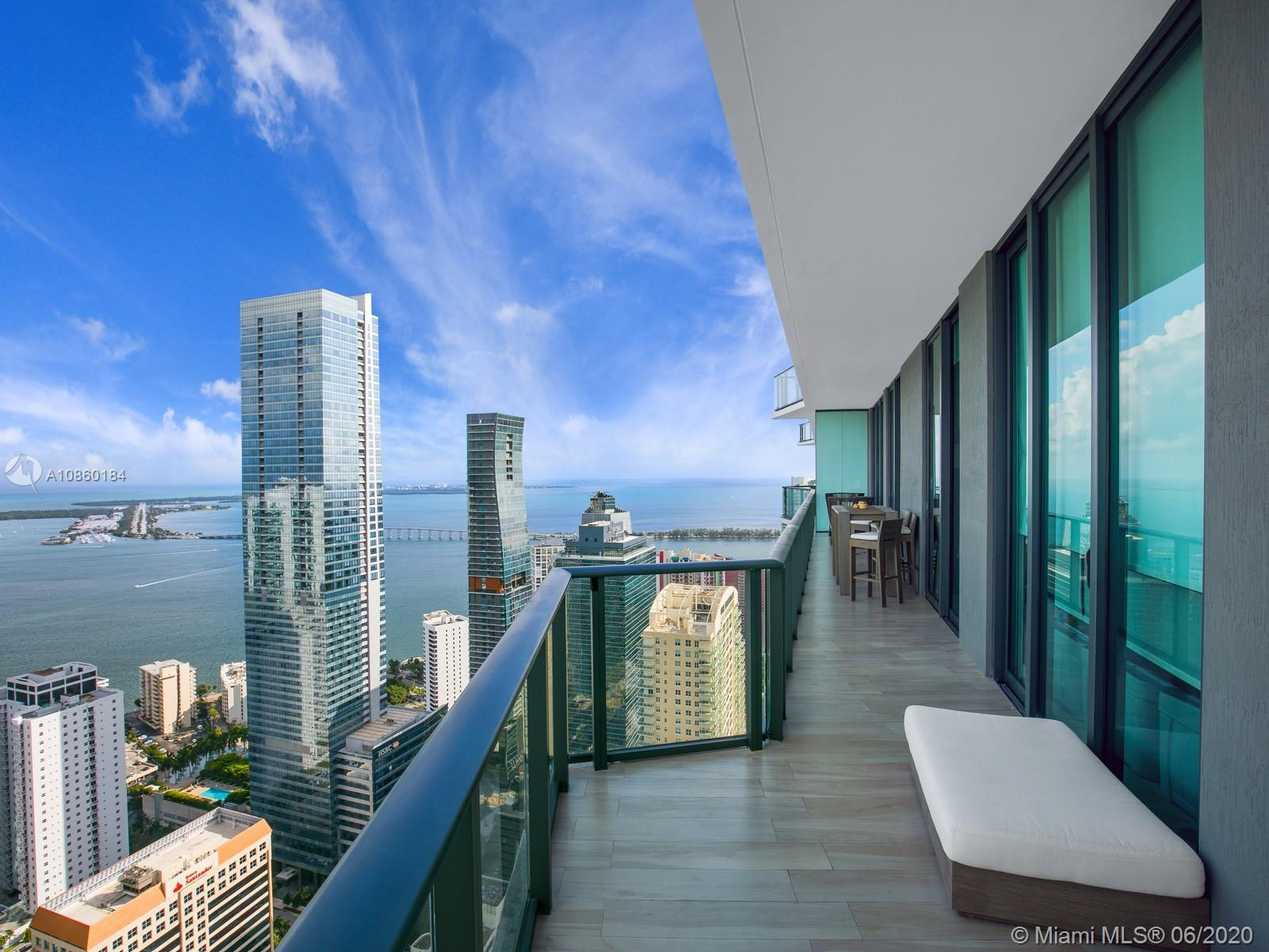 Enjoy breathtaking Bay and City views from this unit located at SLS Brickell. The unit has been tastefully finished & has 3 Bedrooms + DEN, 3.5 Baths, it features top-of-the-line Bosch and Subzero appliances, ceramic wood-like flooring throughout, 10-ff ceilings, floor-to-ceiling windows, gourmet kitchen with marble countertops, custom closets in all bedrooms, and a spacious master bedroom. SLS Brickell offers its residents a number of lavish amenities, including a state-of-the-art fitness center; rooftop pool with city and water views; full-service spa; pool terrace with 200 foot-long heated pool, private cabanas, and al fresco dining; full-service concierge; Kids room; party room; and on-site fine-dining restaurants by Michael Schwartz and Jose Andres. Unit comes with 2 parking spaces.