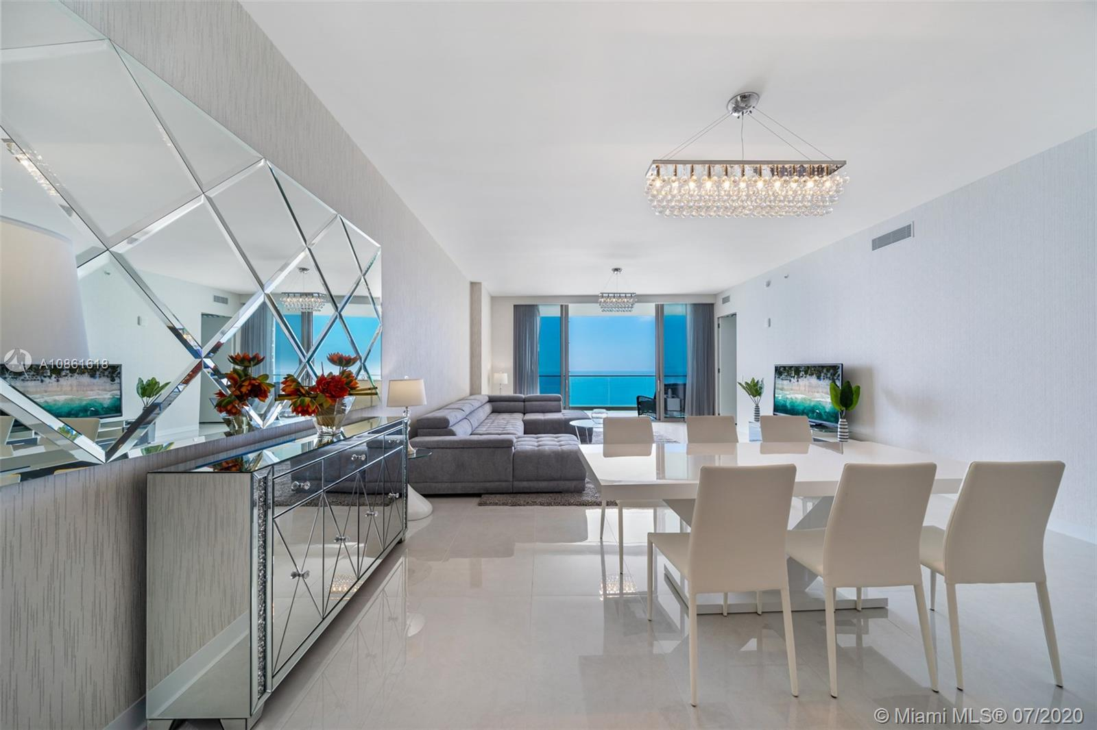 3-Bedrooms + Den / 3.5-Bathrooms (2716sqft interior + 756 balconies) FULLY FINISHED & FURNISHED. TURN KEY. click on VIRTUAL TOUR for VIDEO. 1 KING + 2 QUEEN BEDS (made in Italy). OCEANFRONT everything: pool, gym, restaurant, theatre, game room, yoga studio, 2-story spa with hair salon, sauna, steam. BREAKFAST CAFE EVERY DAY. This 27th floor flow-through, east to west, sunrise to sunset, condo has a Den (make it your office or library?), midnight bar in Master, fully built out closets, chandeliers, curtains, porcelain tile floors, BBQ on Balcony, NEST Thermostats, TOTO Toilets, Electric Range on kitchen island with hidden ventilation system, Washer+Dryer. RENTED for $10,500/m until July 31, 2021, very difficult to show. SEE VIDEO.