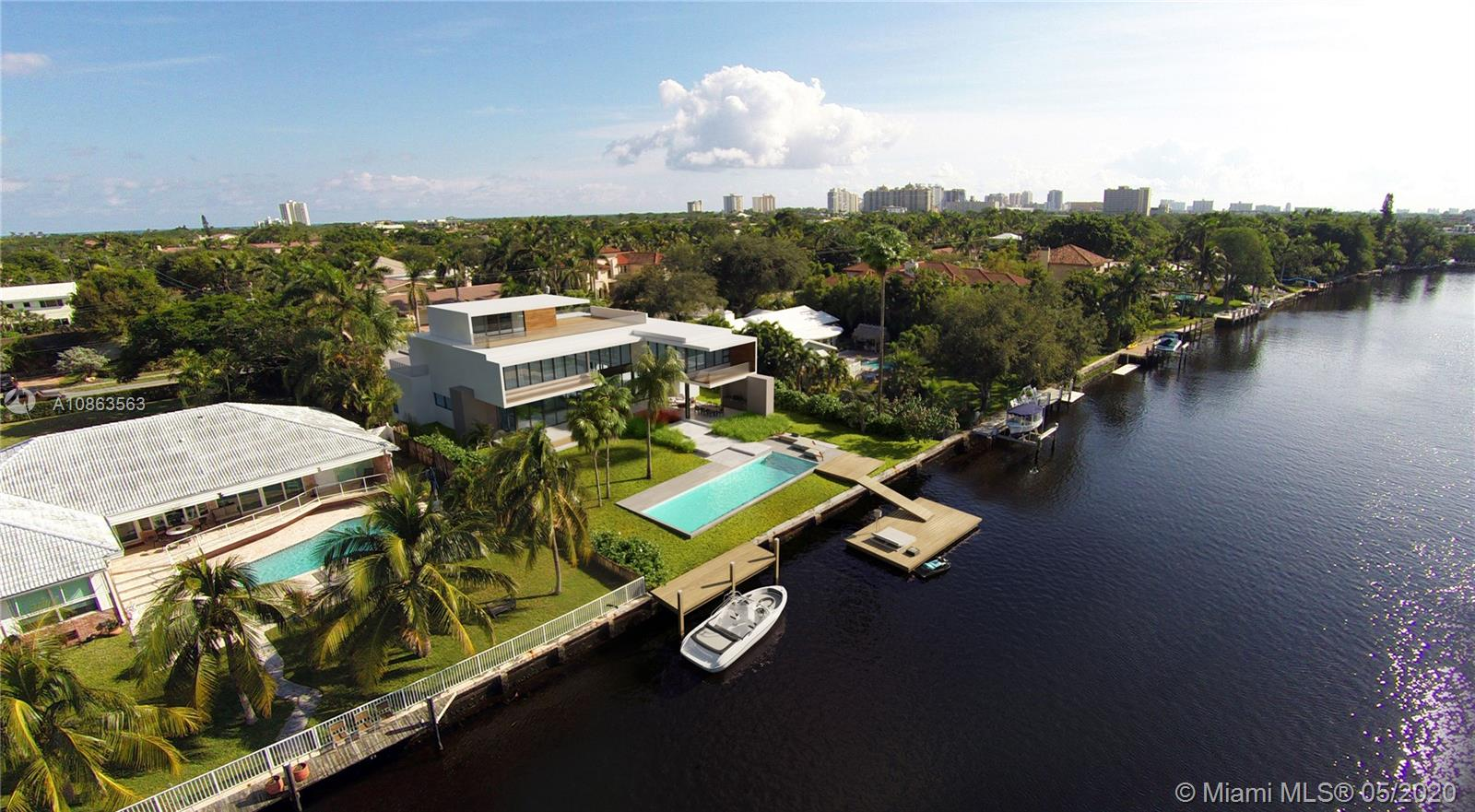 Unique, stunning, modern estate. 100 ft water frontage with panoramic views and dock. Infinity pool with attached spa. This amazing waterfront residence built in the established Coral Ridge neighborhood at 1529 Middle River Drive, Fort Lauderdale, Florida. The new home, designed in a contemporary style architecture, will be a 3-story structure with 7,700 square feet of living space that will include six bedrooms with a detached, 3-car garage, swimming pool, rooftop terrace and elevator. The house is under construction and will be deliver by sept 2020