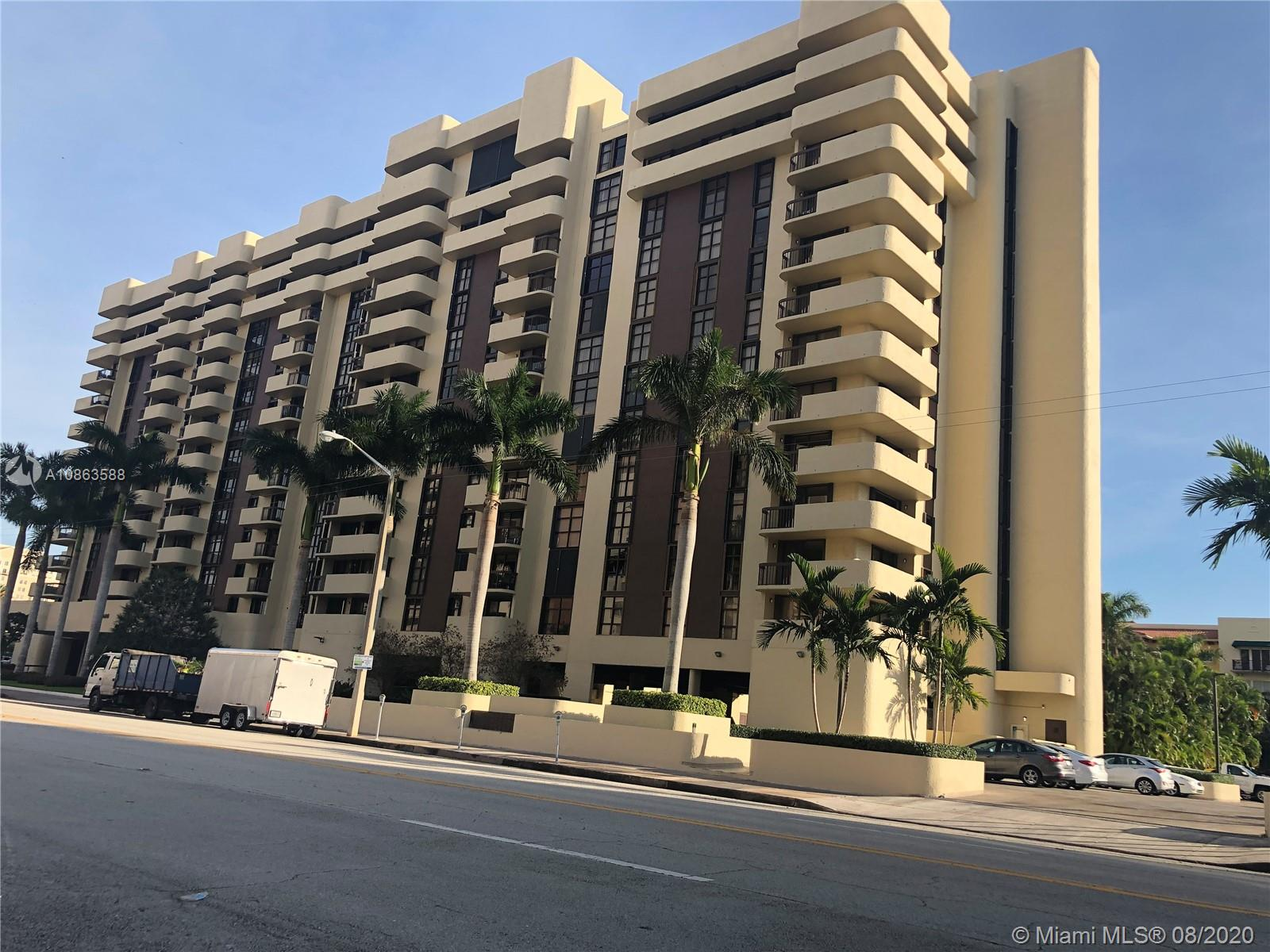 Location matters, is the most desirable location at Coral Gables. Must see,  Spectacular South Florida view from 2 Balconies. Big And adorable open kitchen, wood floors, 1 1/2 bath, 1 Big master. All through out exquisite finishes. One of a kind big living room area, substantially remodeled. Enjoy Restaurants, and  boutiques In downtown Coral Gables within walking distance. Aesthetically pleasing, bright and adorable. Swimming pool, gym And game room. Low HOA. Motivated seller