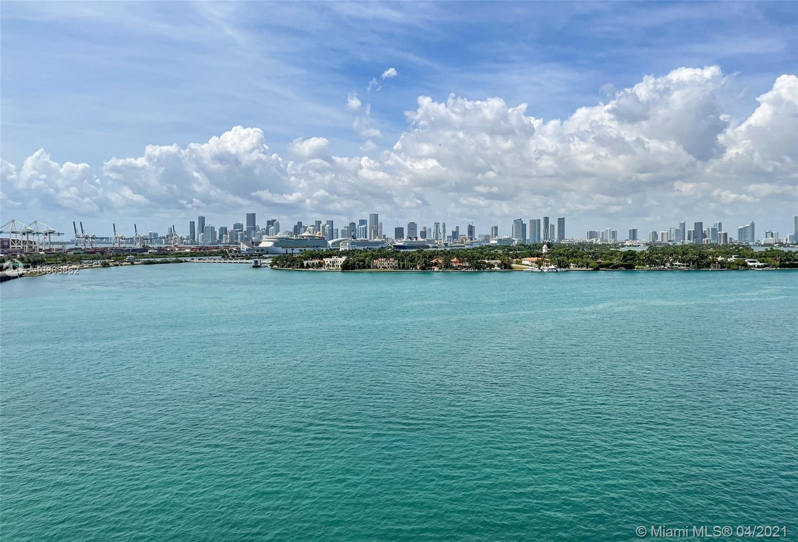 Stunning Views – 1 bedroom, 1 bath condo located in the heart of South Beach. Enjoy sweeping views of Biscayne Bay, the Downtown skyline, and watch cruise ships sail out to sea. European-designed kitchen with top of the line stainless steel appliances, marble bathrooms, large private balcony, and floor-to-ceiling windows offering an abundance of natural light.  This unit is located in a modern, boutique bayfront building offering resort-style amenities.