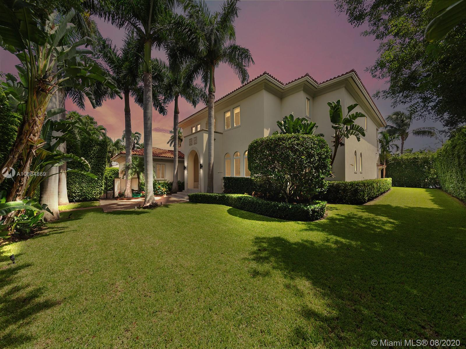 Coveted Bay Harbor Islands Waterfront. This luxurious custom built Mediterranean estate w/ contemporary design is nestled on a 16,875 sf lot w/ mature foliage offering complete privacy. The residence features magnificent foyer entry w/ 24' coffered ceilings welcoming you to an open living room offering stunning views of the outdoors. 6bd/6.5ba, marble & hardwood floors, chef's kitchen, top-of-the-line appl, formal dining, media room, grand master suite leaves nothing to be desired w/ double door entry, 2 closets, huge master bath & terrace. 113' of waterfront w/ huge protected dock allowing for easy bay & ocean access within minutes. Huge outdoor area surrounds the opulent Jacuzzi & pool, ideal for Florida entertaining at its finest! You could not pick a better community to call home!