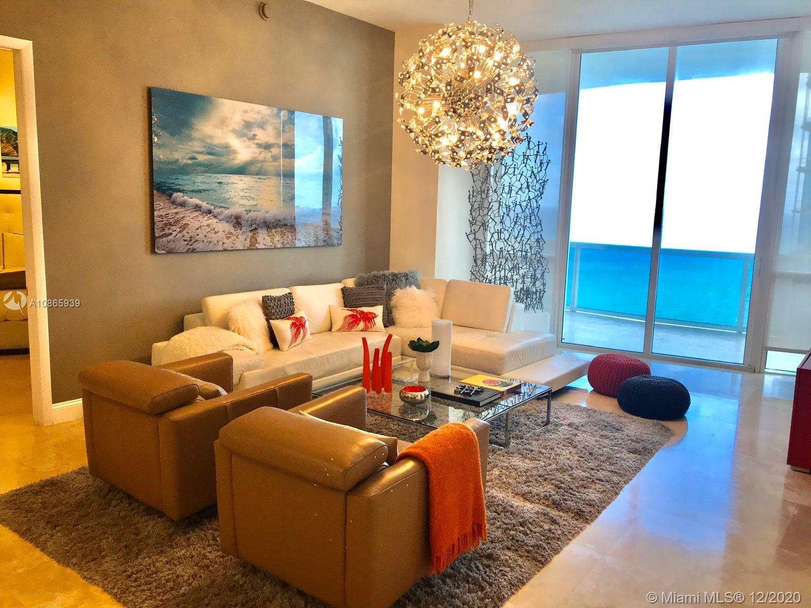 EXPERIENCE AMAZING OCEAN, INTRACOASTAL, AND MIAMI SKYLINE VIEWS. PRIVATE ELEVATOR LEADS YOU TO THIS BREATHTAKING 3 BR/3BA STATE OF THE ARTS FURNISHED OCEAN FRONT APARTMENT. UNIT HAS BEEN PROFESSIONALLY DECORATED WITH TOP OF THE LINE FURNITURE,  KITCHEN MADE IN ITALY WITH MIELE APPLIANCES, SURROUND SOUND, APPLE TV AND MANY OTHER FEATURES. FIVE STARS AMENITIES, VALET, 24 HOUR SECURITY, BEACH BEDS, JACUZZI, SPA, FITNESS CENTER, LAP POOL, PRIVATE OCEAN FRONT POOL , CONFERENCE ROOM, BUSINESS CENTER, BILLIARDS AND MANY MORE…