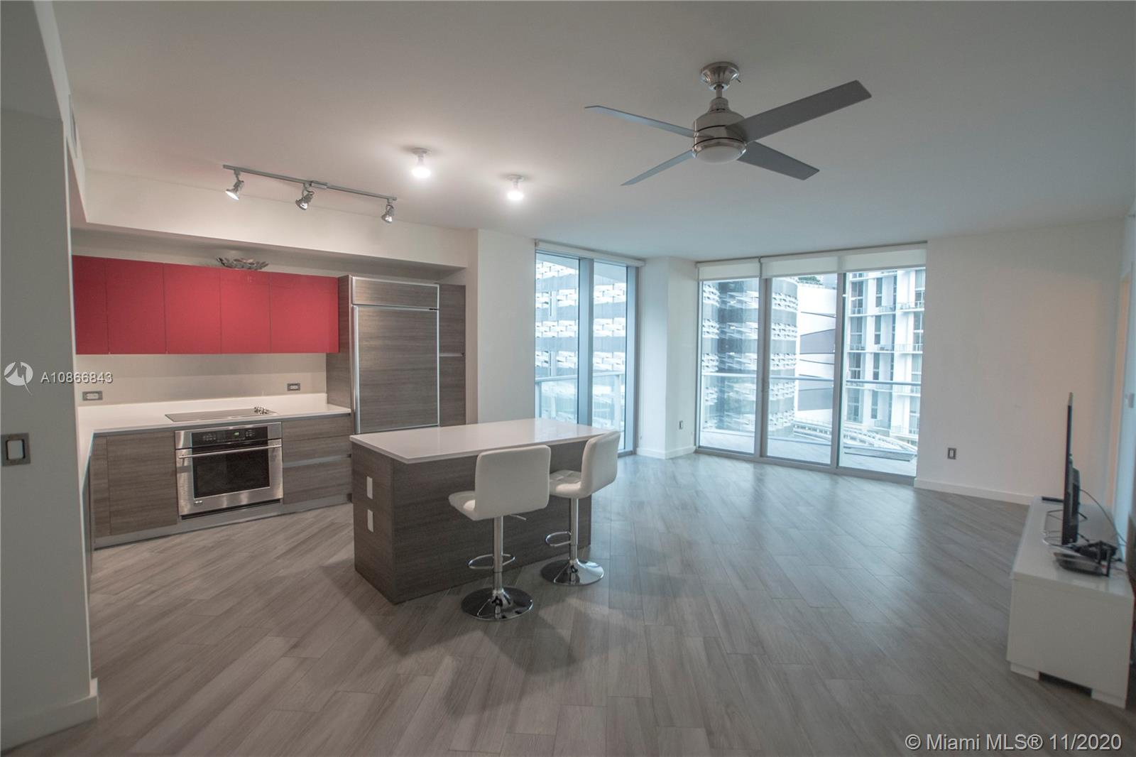 Amazing 2 Bedroom 2 Bath for rent in the building in Brickell, 1100 Millecento. This unit is fully upgraded with porcelain wood tile in the living room, kitchen, and terrace. Additional upgrades include California wood drawers in the master bedroom closet and window treatments. Standard features include Italian cabinetry, quartz countertops, full floor to ceiling windows, rainfall showers. 1100 Milliecento is inspired by the supercars of Italy and designed by Pininfarina.