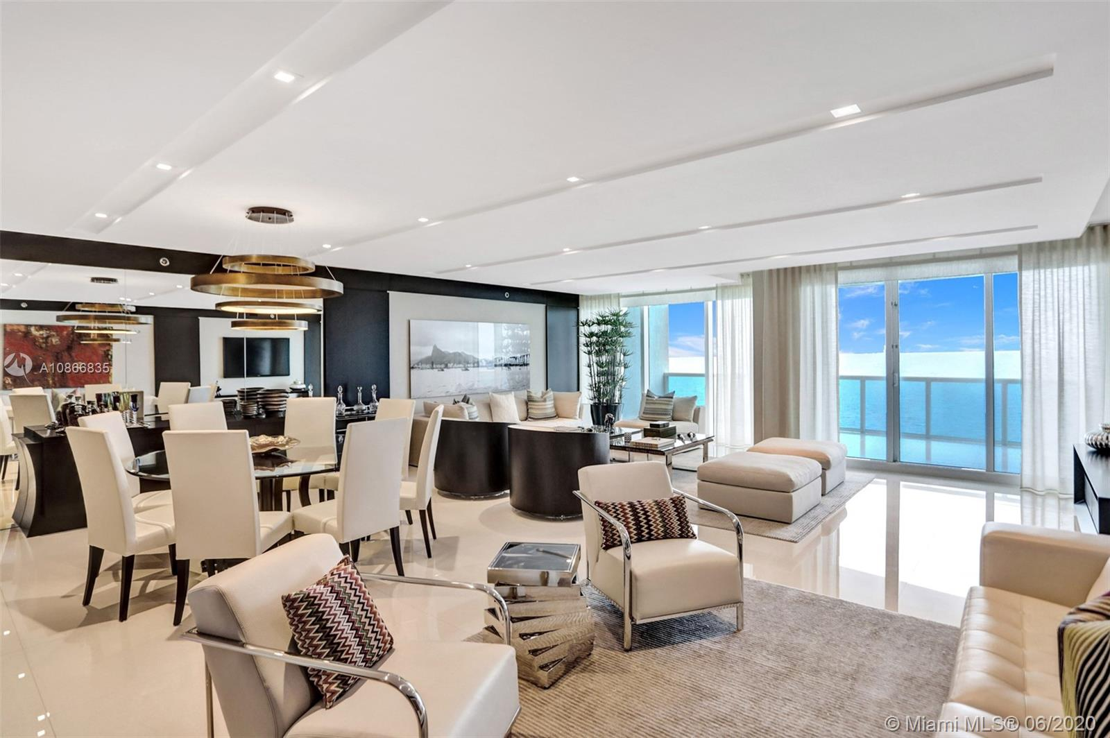 Turnkey apartment at the Luxurious Trump Hollywood. Panoramic direct ocean and intracoastal view. Flow through floor plan with breathtaking views in every direction. 3B 3.5BA, family room, Gourmet European kitchen w/high quality Miele & Sub-Zero appliances. Private elevator entrance, floor to ceiling glass windows & spacious terrace. Professionally designed & furnished. Unsurpassed amenities incl. Breakfast room, Wine+Cigar Lounges, Fitness Center, Spa, Massage rooms, Theater, Party room, Caterer's Kitchen, pool+beach service, 24 hr security, valet. Stunning!