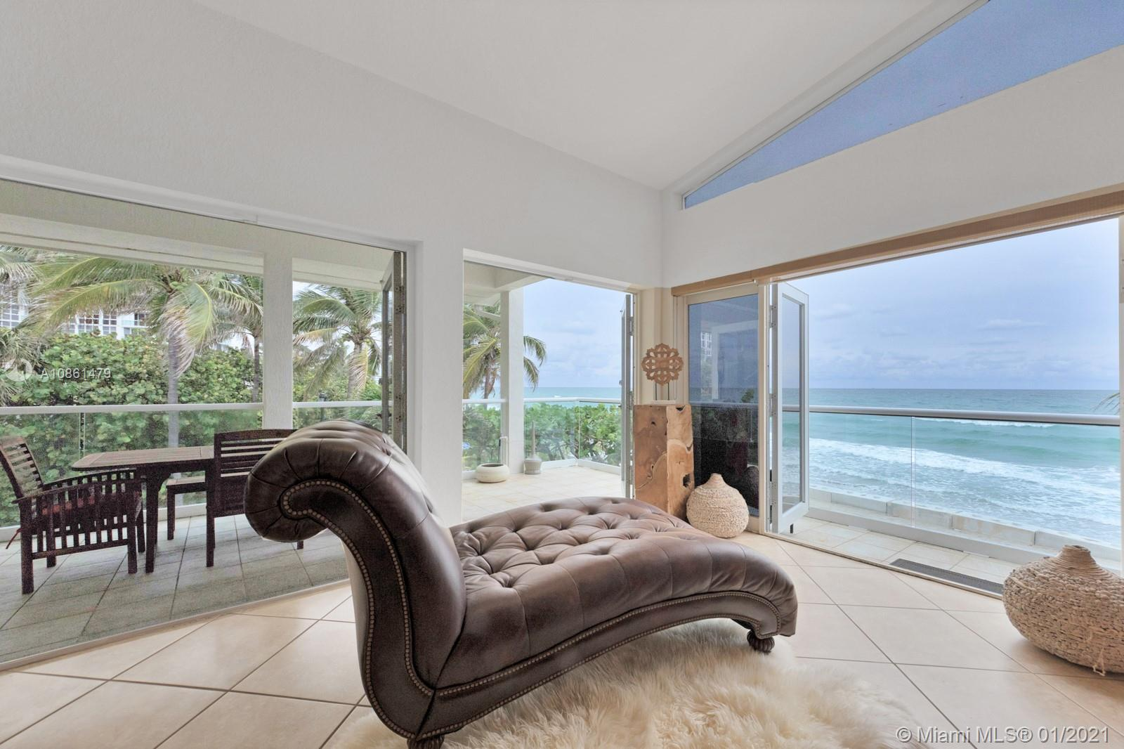 Spectacular two-story 5 bedroom 4 bathroom oceanfront residence with stunning direct ocean views, located in the private residential area of North Hollywood Beach where the sky meets the ocean and sand. This house features a large family room with gas fireplace, open gourmet kitchen with granite counter tops, stainless steel appliances,Viking gas ranges, custom-built bar. Outside patio with GE gas BBQ/kitchen with additional charcoal BBQ and hot tub. This is the dream Hollywood location to a natural ambiance and a soothing atmosphere. This is a rare opportunity to own one of the largest lot in famous Hollywood Beach.