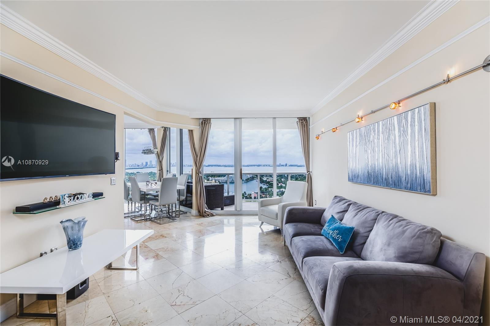 Breathtaking, unobstructed views from this magnificent condo located at the Green Diamond on Millionaires Row. This large 1BD/2BA + an enclosed den (converted into a second room) features beautiful views of the Biscayne Bay, Intracoastal & downtown skyline. From its large terrace, you can sit and enjoy amazing sunsets all year round. Open kitchen with granite countertops, gorgeous marble floors, oversized master bathroom with Jacuzzi and shower, built-in walk-in closet. The building offers 1st-class amenities including 24-hr. security, valet, beach & pool service, tennis court, a 16,000sf oceanside clubhouse recently renovated, with state-of-the-art gym and spa, beauty salon, restaurant, party/card room, inside and outside child play area, loaner bikes, marina and more...