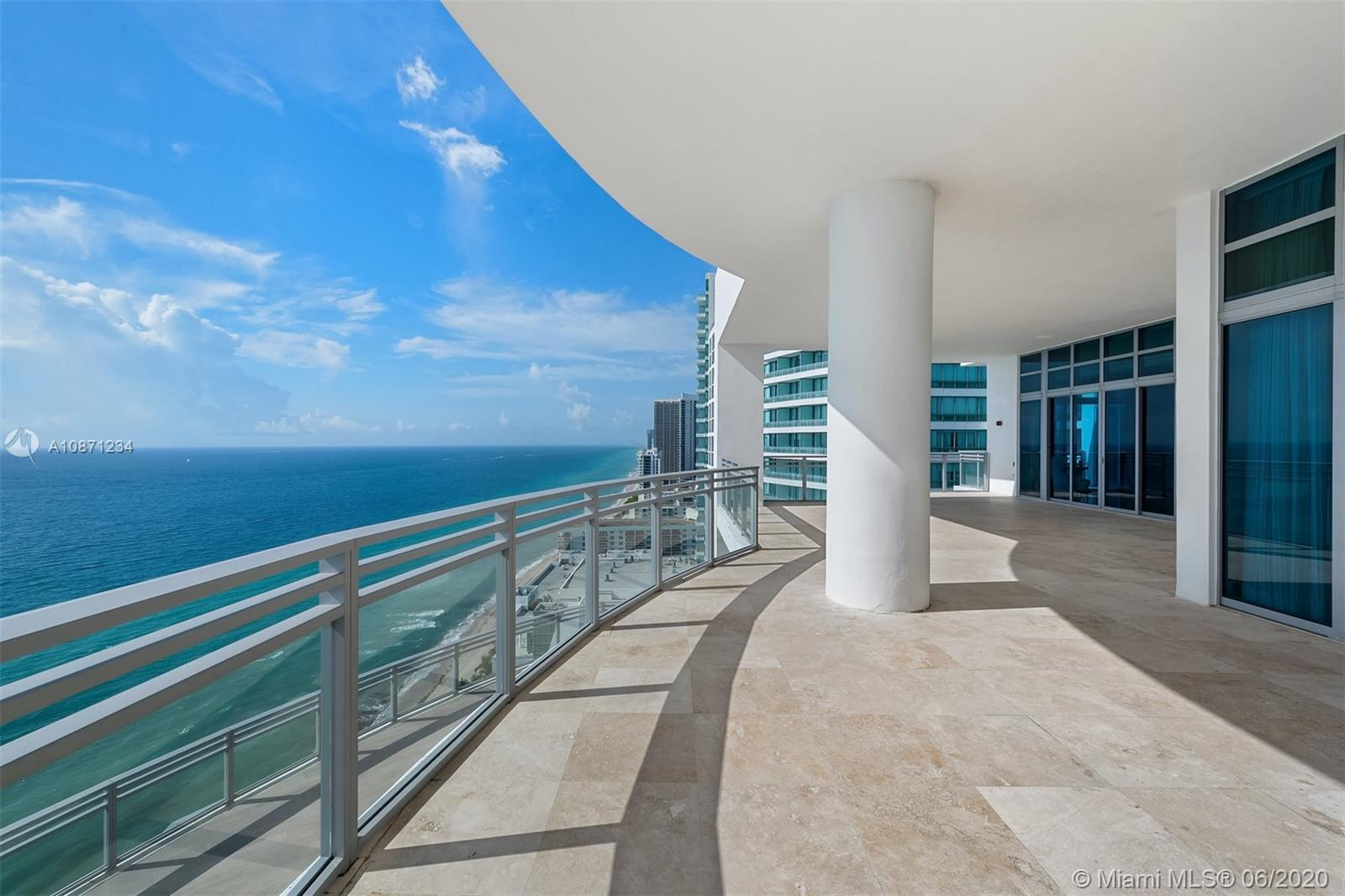 360 degree views, impressive terrace space, and an entire Penthouse floor. This unit features 7,861 SF and an additional 5,700 SF of outdoor private terrace space. PH2901 offers a private elevator entry, custom lighting, millwork & built-ins with a spacious flow-thru layout w/extended living, family & dining areas w/amazing views of downtown and direct ocean views. 6 bed with bathrooms in suite, 8.5 total bath. Private East facing terrace w direct ocean views that wrap around to the North facing downtown.  Expansive West facing terrace wraps around to the South with views of the sunsets, city skyline and beaches. Residents may enjoy the Diplomat Resort 6 restaurants, state-of-the-art Spa and Fitness Center, and other hotel services.