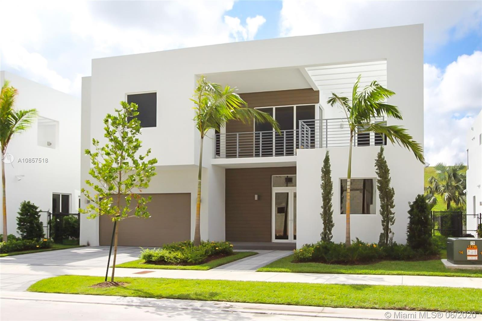Exclusive new home at Modern 60, the finest secure and gated community in the City of Doral. New 5 bed/5 bath two story house featuring an open floor plan on the first floor with elegant interior architectural details, 12' ceilings, impact windows & doors throughout, porcelain floors, kitchen with Italian cabinetry, quartz counter tops, top of the line SS appliances, smart home technology. Master bedroom features his and hers walking closet and a private balcony. Beautiful landscaping, private pool area with a summer kitchen excellent for entertaining. Enjoy private access to clubhouse w/state of the art amenities.