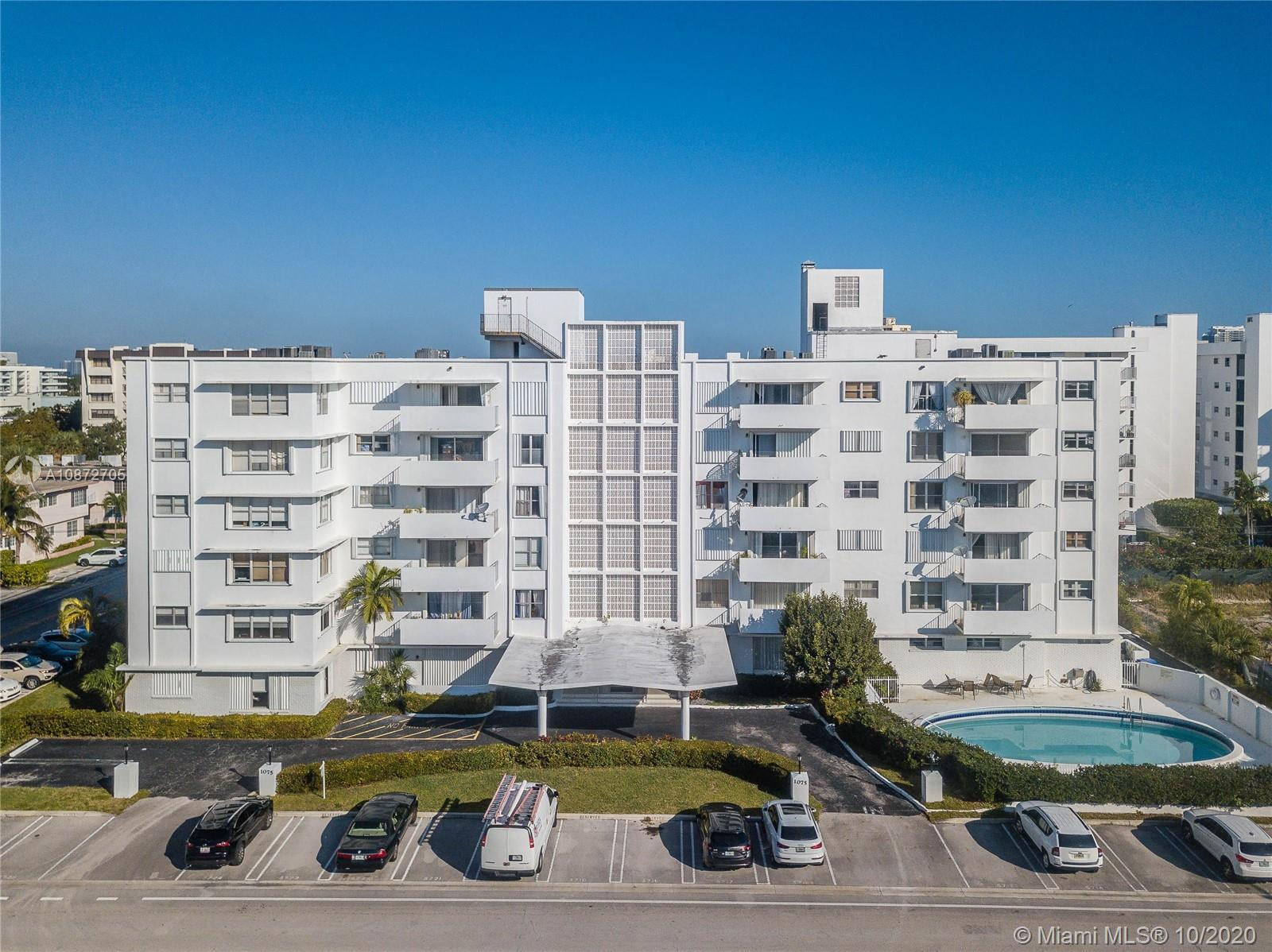 Oversized 1 bedroom 2 full baths condo with nearly 1300 sq ft of living space. Enjoy an abundance of closets, storage space  and open terrace overlooking Bay Harbor Islands and swimming pool. Located within walking distance to top rated K-8 school. Steps to shops, houses of worship, beach and Bal Harbor Shops. Well maintained and pet friendly building.