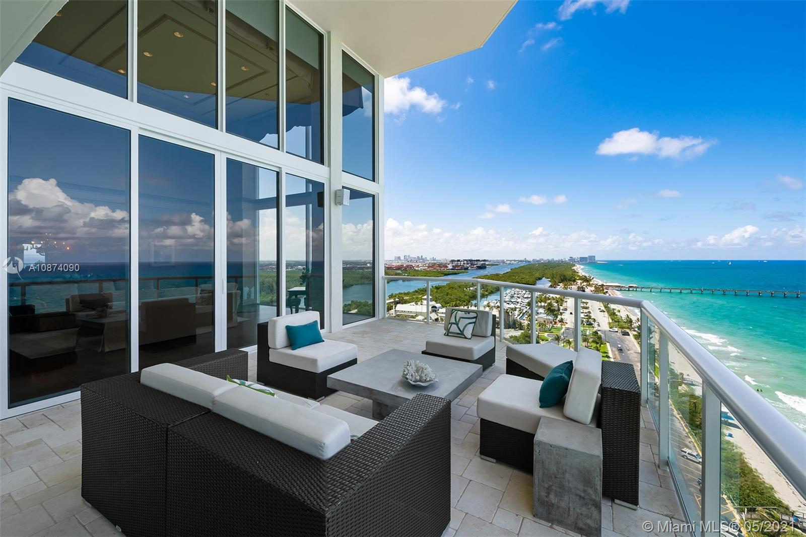 Dramatic, light-filled developer's oceanfront penthouse with a myriad of custom high-end finishes. This is a truly sophisticated home that feels like an elegant, spacious 2-story townhouse from the moment you walk off the private elevator. Expansive 20' floor-to-ceiling windows frame the panoramic ocean views in the living room which easily entertains a crowd and connects both to the formal dining room and the oceanfront terrace. Large chef's kitchen with custom touches and casual dining space. Everything is inside to live an unparalleled lifestyle: spacious master suite, office, private gym, sauna, media room and library.  Luxury amenities: pools, tennis, fitness club, private beach cabanas, valet and much more. Located between Miami and FTL and is just a 10 min drive to the airport.