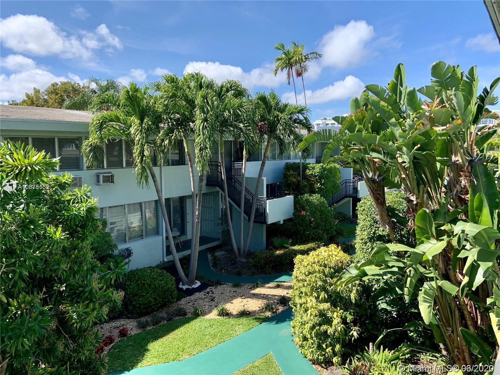 Excellent location in Bay Harbor Islands. One bedroom, one bath. Second floor with beautiful balcony facing the garden, one uncovered parking space, Corner unit with lots of windows and natural light. no pets -. Walking distance to the ocean, places of worship and supermarkets. Near to Surfside great restaurants. Very safe area. Great investment property.