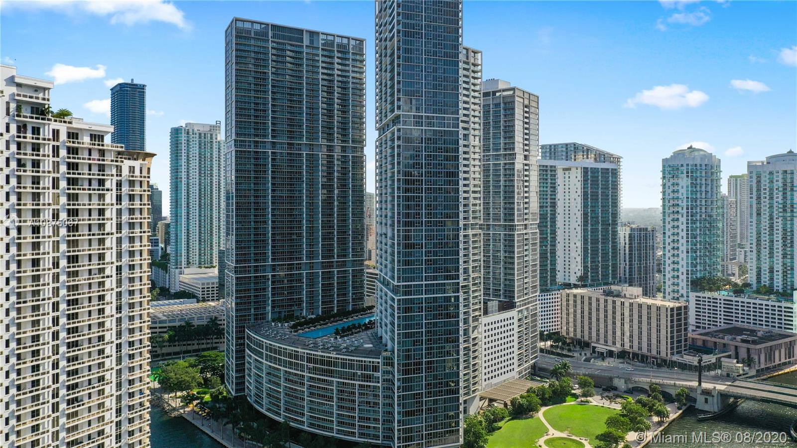 Luxury at it's best with breathtaking 360 degree water views from the largest 3 bedroom line with 12' ceilings. Wraparound balcony overlooking Brickell Key & Port of Miami. This upgraded 3/2/1 features leather covered custom closets, elegant lightning, top of the line Subzero & Wolf appliances. Elegantly decorated and just a stroll away from Citicentre, Downtown and Mary Brickell Village. Home to Cipriani and Cantina La Veinte. Enjoy incredible sunsets over the water. 24 hour notice for showings.
