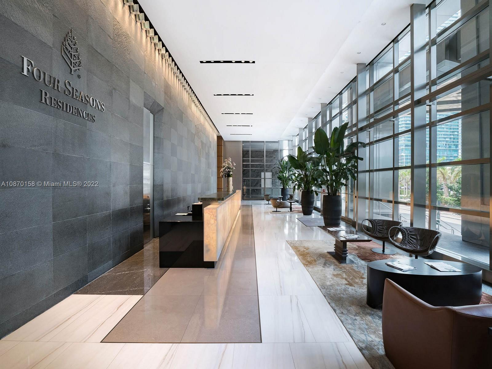 Your jaw will drop as you step into this one-of-a-kind residence in the sky in the heart of Miami.  You will want to gaze forever at the unobstructed, panoramic views of the crystal blue waters of Biscayne Bay. This stunning and luxurious unit was designed at the hands of famed interior designer, Luis Bustamante. No detail was spared with this custom renovation from the bar and ceiling which were imported from Spain, to the stunning Loro Piana wallpapers, you will only be surrounded by the highest quality finishes. Experience the epitome of luxury living at The Four Seasons Residences with the 5 star amenities which includes a spectacular pool, 2 restaurants, 24/7 in-room dining, Equinox memberships, and much more, but most importantly, the most exceptional service at your fingertips.
