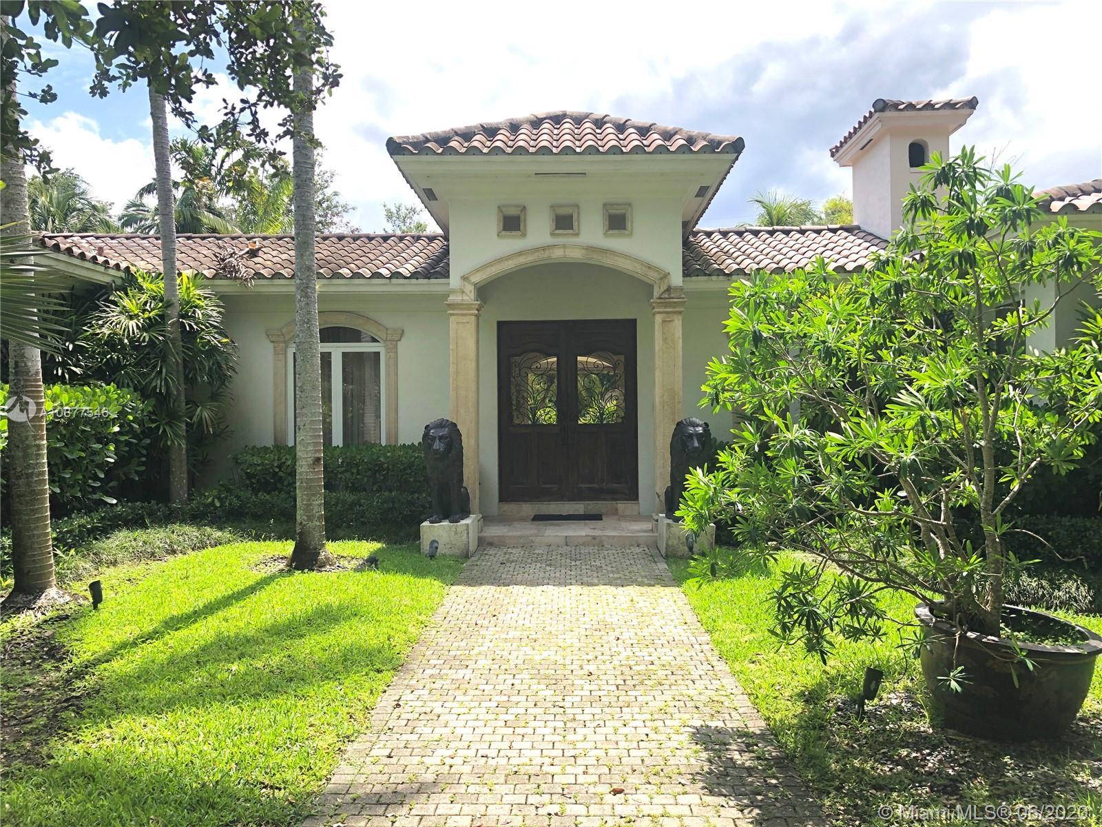 Beautiful gated home in the heart of south miami with 5 bd/ 4.5 baths, double garage, wine closet, family room, TV room, housekeeper room, working generator, saturnia marble and wood floors. Gas oven along with stainless steel appliances. Fabulous pool/patio area.