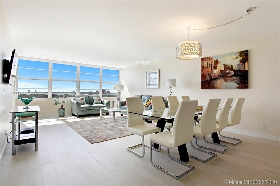 Beautifully remodeled and being offered fully furnished! This 2 bedroom, 2 bathroom SW corner residence offers 1,320 LA SF with spectacular Bay & downtown Miami skyline views. Other features include a large balcony, oversized closets, impact windows & sliding doors and 1 assigned parking space.Building has been well maintained and renovated through the years. Amenities include: valet, front desk concierge, business center, multi-media room, multi-functional room, state-of-the art exercise room, sauna, barbecue area and pool facing the intercoastal, a restaurant and onsite private boat dock. Maintenance includes: A/C, water, premium cable, high-speed internet, free Wi-Fi in common areas and access to all amenities.