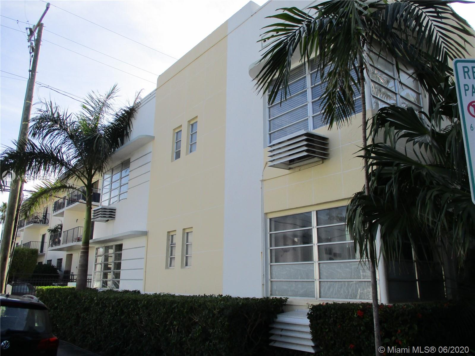 Cute 2/2 in the heart of South Beach, oak floors, newer bathrooms, laundry facilities, beautiful gardens at the entrance and a beautiful yard to sit and eat or barBQ bike racks well kept community. Walk to the Beach, Lincoln Road, Flamingo Park, Restaurants, Shopping, Transportation, Schools and Houses of Worship. Unit needs a little TLC Low Maint. Fees  Easy to show just call the listing agent.