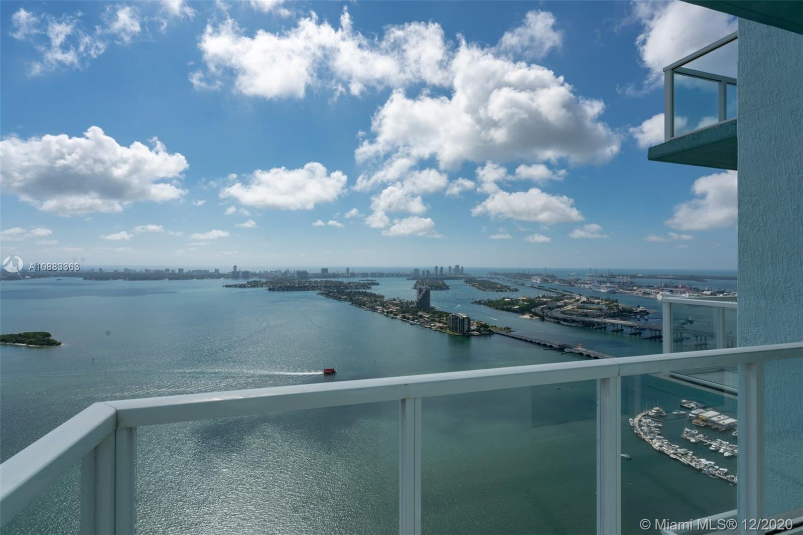 Rarely Available Penthouse at Quantum on the Bay. Tastefully renovated corner unit. Enjoy breathtaking panoramic views of Biscayne Bay, Miami Beach and the Ocean. Three Balconies with eastern, norther and western exposures. Wraparound balcony on the Master Bedroom. Beautiful Porcelain floors throughout. 3 bed / 3.5baths. Building has great amenities including 2 pools, 2 story gym and much much more.