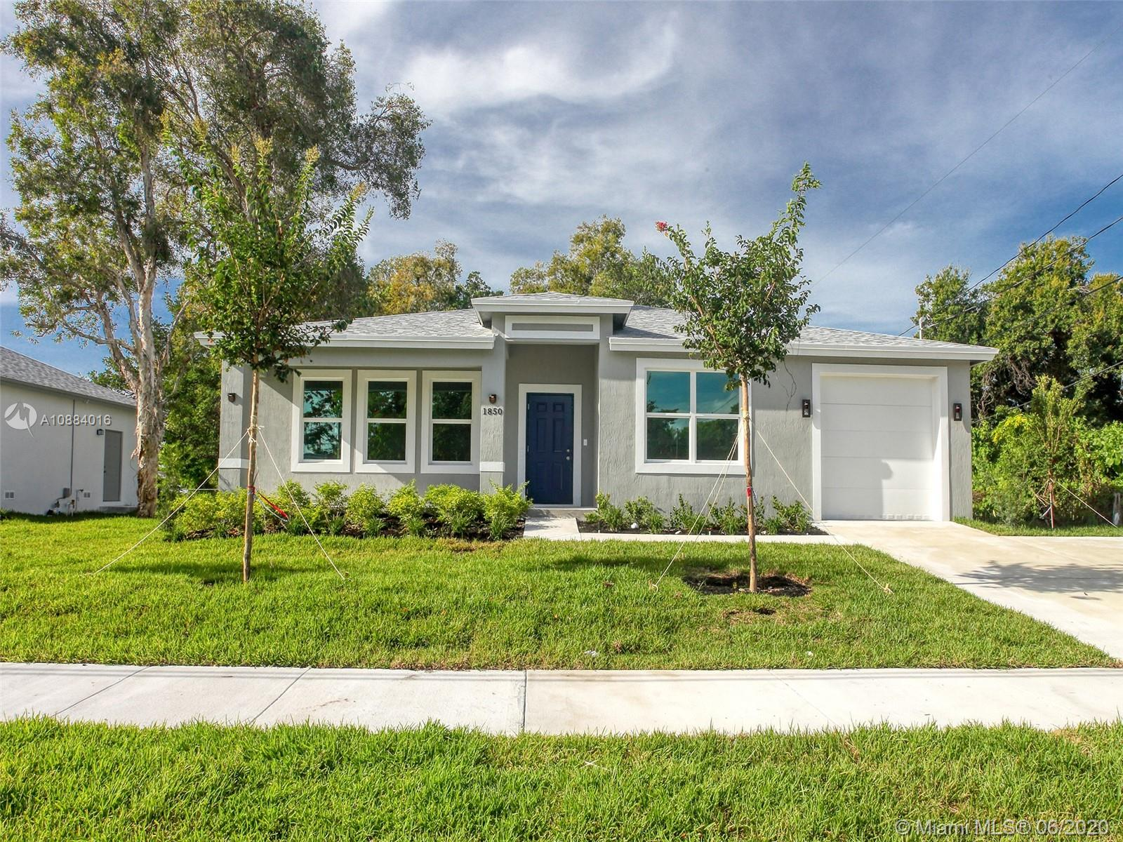 New construction 3 bed 2 bath 1 car garage dream home on a large lot on a quiet street in Oakland Park.   Modern white kitchen with black granite countertops, tile throughout.  Large master with walk in shower and large walk in closet.  Features include hurricane impact glass windows and doors, tankless water heater, energy efficient air conditioner, and all stainless steel kitchen appliances.  Large laundry room with washer and dryer included.  No association, no fees.  Includes 1 year builders warranty.