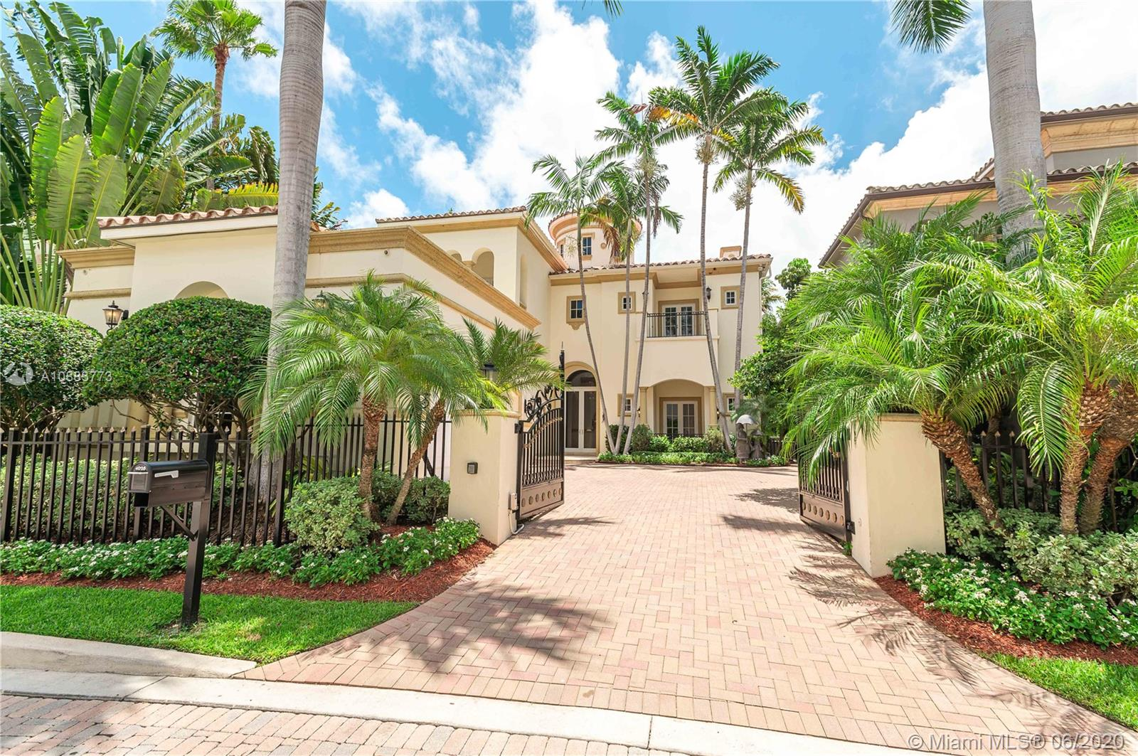 Island Estates is a private grd gated Island in Aventura's most exclusive address w only 22 homes & 12 yacht slips.  This modern Mediterranean mansion has 6 BRS and 6 .5 BA. 6200+ SqFt of beauty that includes an assigned 50' yacht slip! As you walk thru the grand foyer you welcome an open floor plan w/2 1st floor guest rms, formal dining rm, formal bar area, formal living rm, den, chef's eat-in kitchen w/Wolf, Miele & Sub Zero appliances, full laundry facilities & 3 car garage. You can journey up the grand staircase or take the elevator to the 2nd fl where there are 2 lg guest bedrms w/ensuite bathrms. 2nd full laundry rm & the dreamy mstr bedrm & bathrm. this open concept home is timeless w/water views from every room. Security is key & the Island has a private roaming guard.