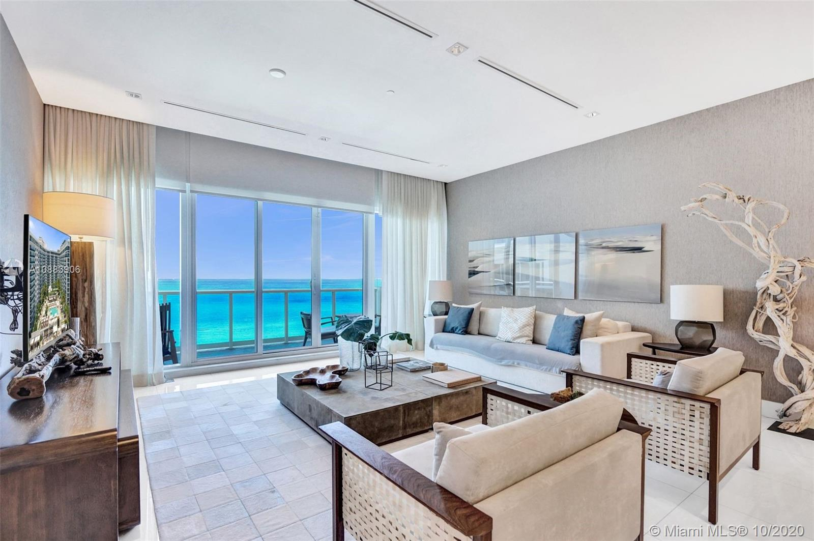 1 Hotel & Residences South Beach, Direct Ocean View Penthouse! Highest ceilings in the building.  Private beach, one of the most luxurious full service building in SoBe, open ocean views. One-of-a kind penthouse in the skies of Miami Beach. Boasting elevated ceilings & custom finishes. The feeling of a true home with over sized kitchen, living room & bedrooms. Indulge in luxurious sand filled lounges, rooftop pool & organic farm-to-table restaurants. Private resident lobby, concierge & chauffeured Tesla. Enjoy 600 linear feet of pristine beachfront, 4 pools, 14,000 sqft state-of-the-art fitness center (Anatomy gym), spa, beach service, valet and much more!