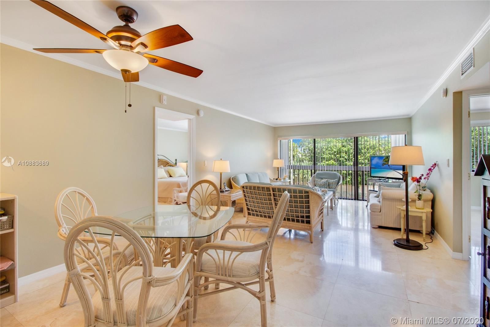 Enjoy the Key Biscayne lifestyle in this completely remodeled bright 2 bed / 2 bath condo with marble floors throughout. Boutique building with low maintenance fees. Plenty of closets. Washer and dryer inside unit,  2 parking spaces, and additional storage.  Very close to the beach, restaurants, market, park, shops, and community center. Enjoy this cozy place you will call home! Easy to show.