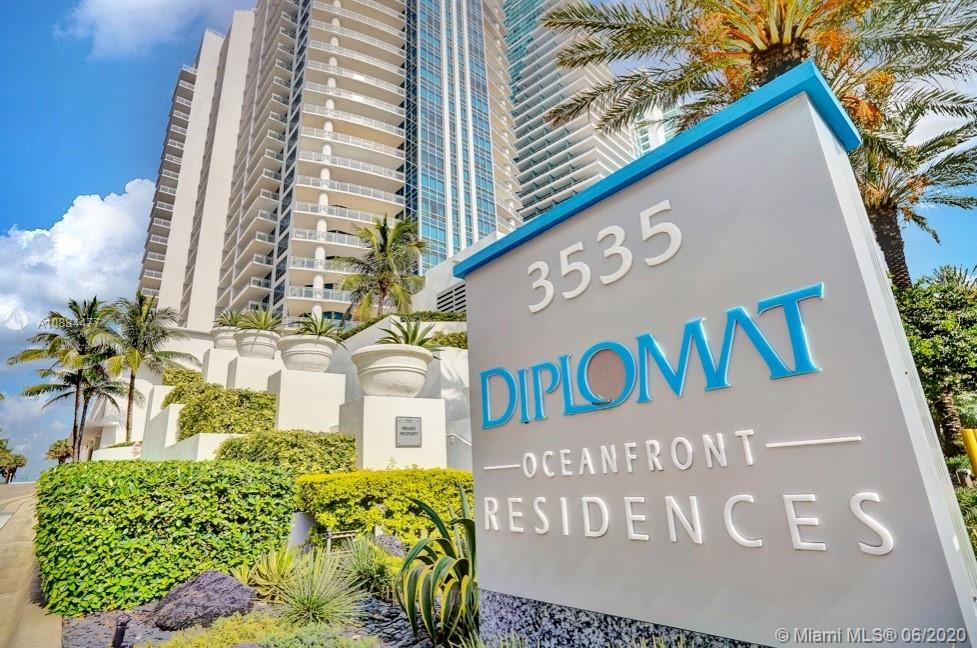 BEST DEAL IN 01 LINE OWNER VERY MOTIVATED!!! THE DIPLOMAT OCEAN FRONT RESIDENCES WITH SPECTACULAR VIEWS FROM EVERY ROOM 3 BEDROOMS 3 1/2 BATH + DEN, STONE FLOORS FROM JERUSALEM 2 LARGE BALCONIES GRANITE COUNTER TOPS KITCHEN WITH GAS STOVE, DOUBLE OVEN, SUB ZERO FRIDGE 2 CAR GARAGE PARKING SPACES NEXT TO ENTRANCE, HEATED POOL AND SPA 24 HOUR ROOM SERVICE FROM DIPLOMAT HOTEL, PRIVATE ELEVATOR, RESORT STYLE LIVING AT ITS BEST CALL LISTING AGENT FOR SHOWING. HURRY THIS WILL NOT LAST AT THIS PRICE. TENANT OCCUPIED, CALL LISTING AGENT.