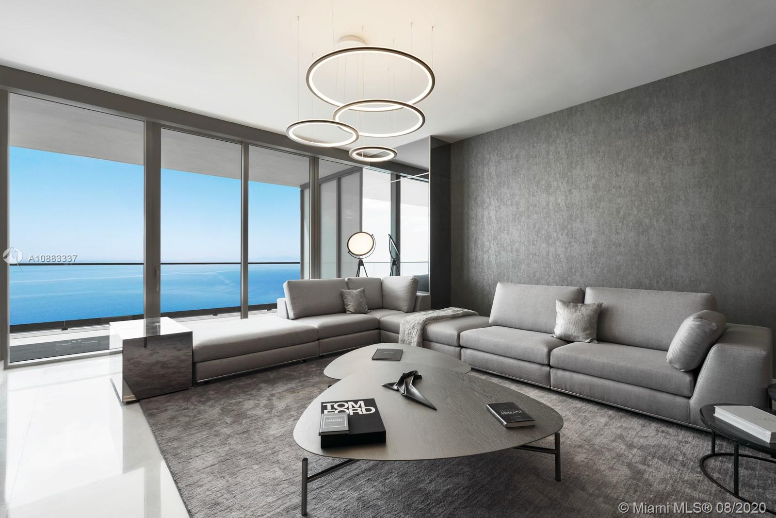 One of the first finished and furnished residences at the one and only Residences by Armani Casa in Sunny Isles Beach. This flow through, brand new 4 bedroom apartment with den and laundry has 5.5 bathrooms and is 4,062 sq. ft. total. It features gorgeous ocean and city views with two large terraces, floor to ceiling windows, split floor plan, volume ceilings, and summer kitchen on the balcony. Gorgeous finishes, high end furniture and custom lighting throughout with Armani's personal touch. Sophisticated elegance in the most sought after building in Sunny Isles. Full service building including Italian Restaurant with room service, party room, game room, 2 level spa, yoga/pilates room, gym, movie theatre, cigar and wine room, kids room, concierge, security, valet, and beach cabanas.