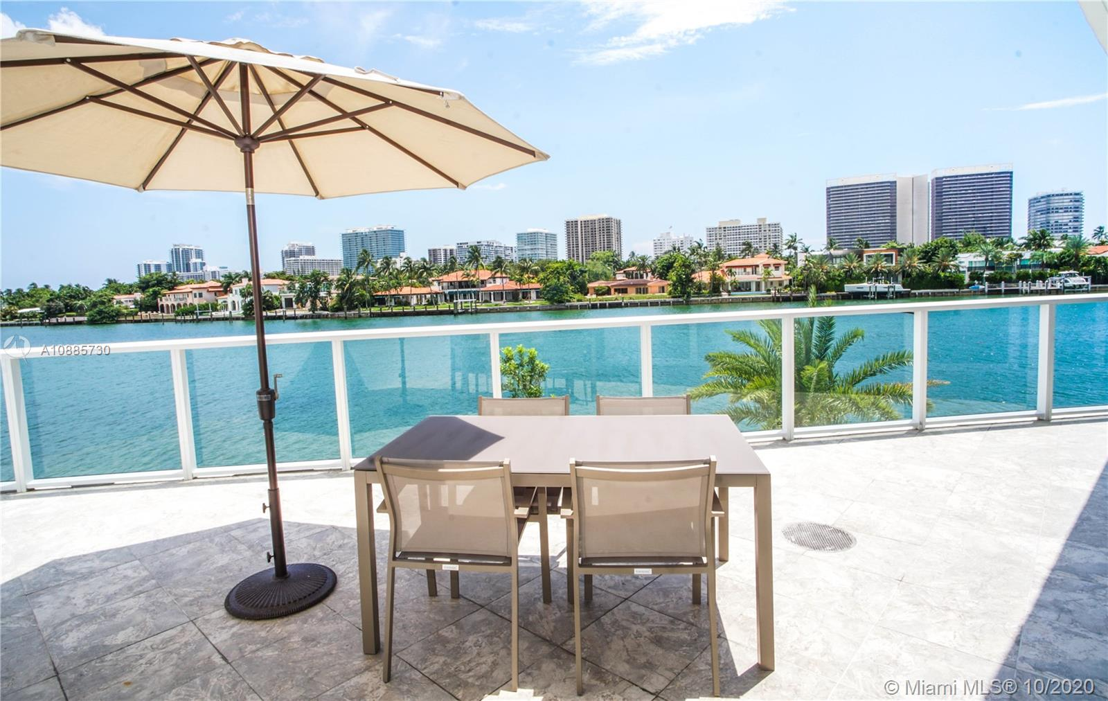 LUXURY INVESTMENT OPPORTUNITY. DIRECT WATER VIEWS from this luxurious 2 bedroom unit at O Residences in Bay Harbor Islands. THIS UNIT HAS THE LARGEST WATERFRONT TERRACE IN THE BUILDING (450 SQFT). Beautiful Italian porcelain floors throughout with marble floors in the bathrooms, updated light fixtures, lots of closet space with built in shelving, floor to ceiling windows, washer and dryer in unit, Viking appliances, quartz counter tops, etc. O Residences offers lots of upscale amenities including BBQ, 2 pools, hot tub, paddle board storage, community dock, gym and relaxing sauna. The HOA includes cable TV and internet. 2 assigned garage and one assigned storage unit. RENTED THROUGH 10/14/22 FOR $3600/MONTH