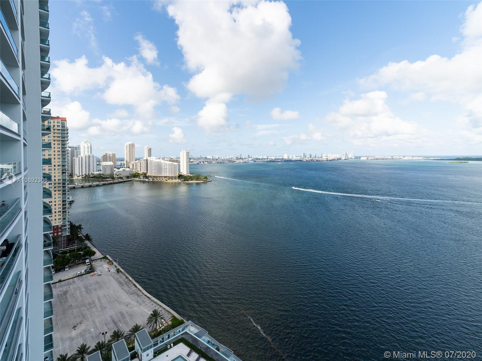 Unrivaled water views from this high floor corner unit in the Jade Brickell. This is the best line in the building and the view from this unit clears all of the lower Brickell Bay Drive neighboring buildings. Enjoy unobstructed views of the Ocean, Biscayne Bay, Key Biscayne, Fisher Island and South Beach from the sprawling balcony. Private elevator with stunning entry to the unit. High end remote operated black out shades throughout this smart home with customized voice controlled lighting.Top of the line kitchen with high end applicances and cabinetry. Gorgeous remodeled lobby and high end amenities including 5 star gym and spa, infinity pool and more.  Property is vacant and easy to show. Only 2/2.5 Unit available in this coveted line. Must see!!