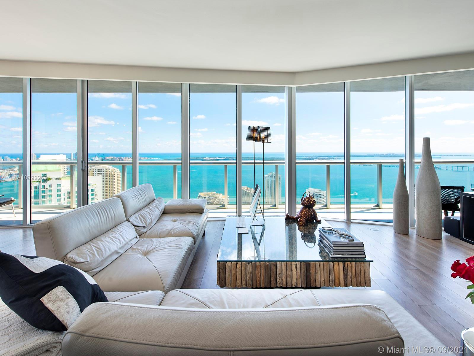 Luxurious residence on the 49th floor with unobstructed breathtaking views of the Ocean, Biscayne Bay and the Miami skyline.an upgraded apartment, such as floors, walls, kitchen This 3 bed 2.5 bath corner unit is located in the Icon Brickell,  a  condo complex by famed Philippe Starck. Building include top of the line amenities like resort-style pool, state of the art fitness center, spa, spinning room, Pilates room, theater, billiard room, lounge areas, 24hr concierge, valet, security and much more.