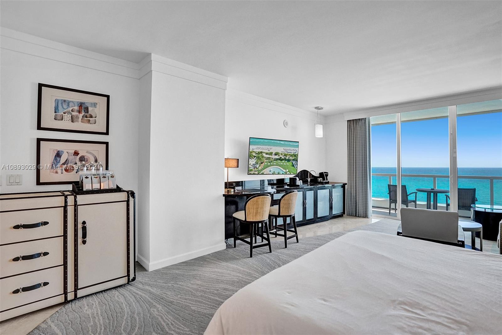 Beautiful Jr Suite w/ direct ocean & pool views at The Fontainebleau III. Enjoy full service, vacation-style living in a furnished turnkey unit with king bed, sleeper sofa & more. Enroll in hotel rental program & receive income while away! The Fontainebleau Resort offers luxury amenities on 22 oceanfront acres including award-winning restaurants, LIV night club, Lapis spa & state-of-the-art fitness center. Maintenance includes: AC, local calls, electricity, valet + daily free breakfast in the owners lounge