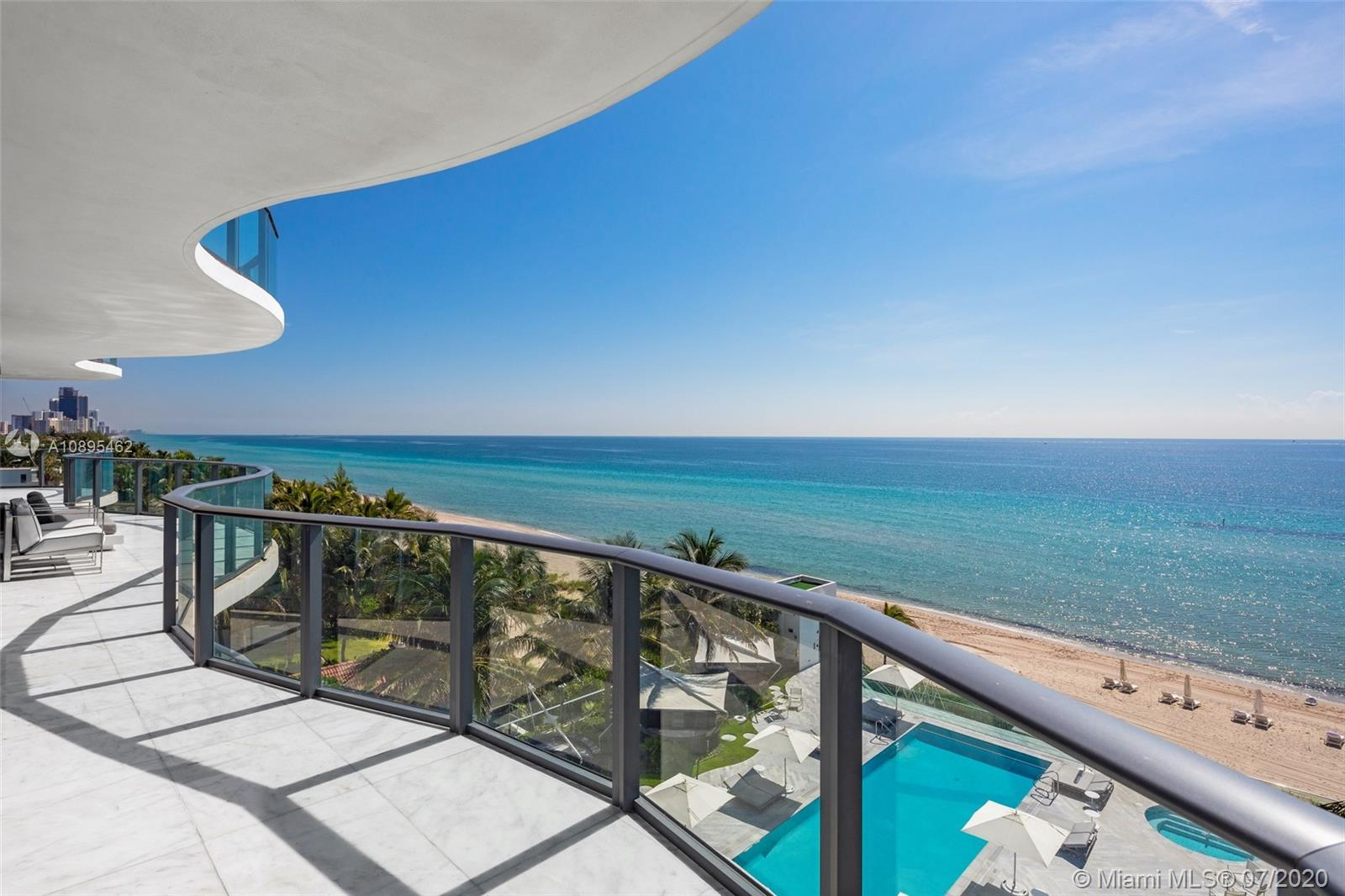 Regalia On The Ocean No. 6, featuring 360 degree unobstructed ocean views, 5,515 Sq Ft of luxury living space. 4 bedrooms, 5.5 bathrooms, 2,100 Sq Ft wrap around balcony. 10 ft ceilings, floor to ceiling windows, impeccable marble floors, fully integrated smart home, custom lighting throughout, automated shades throughout the residence. This exquisite, fully integrated smart home has an upgraded elevator landing area, wall coverings and doors to match the décor, and a glass mosaic wall in the powder room. Luxury amenities includes full service at beach/pool, private wine cellar, business center, state of the art gym/spa facilities & more!