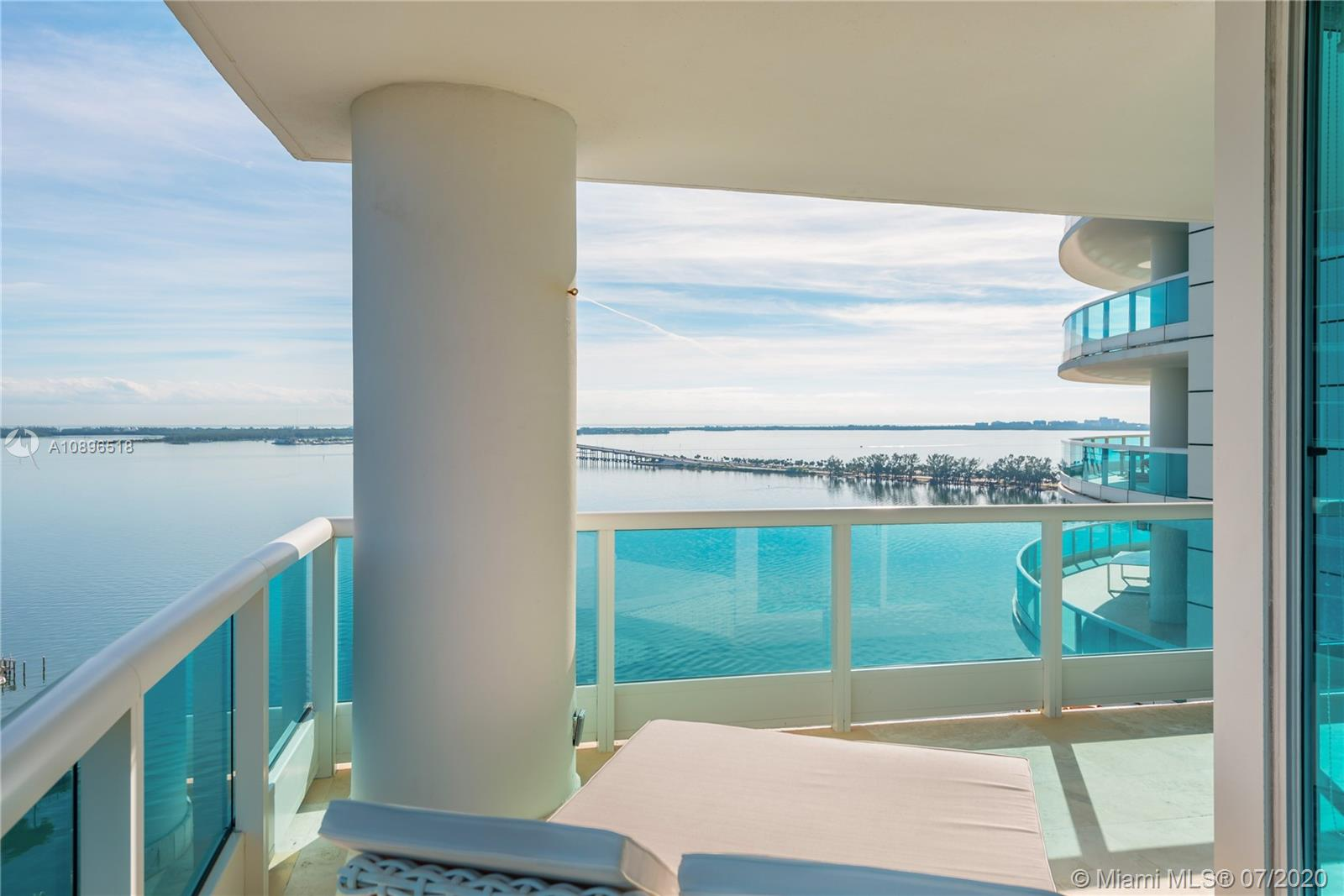 Located on Brickell Ave, this property at BRISTOL TOWER is a unique find. Private entrance, lead to striking water views. COMPLETELY updated unit 2 Bd, 2.5 Bth, laundry area, 2,070 sq ft. Light & bright gourmet kitchen. Wraparound balcony, open air entertaining space with panoramic views of Key Biscayne Bay to provide entertaining while viewing spectacular sunsets. Located near to I95 access, minutes from downtown financial, and direct access to walking and biking to Key Biscayne Causeway. Features include Crestron, Wolf, Subzero, Electrolux washer/dryer and much more! Furniture negotiable.