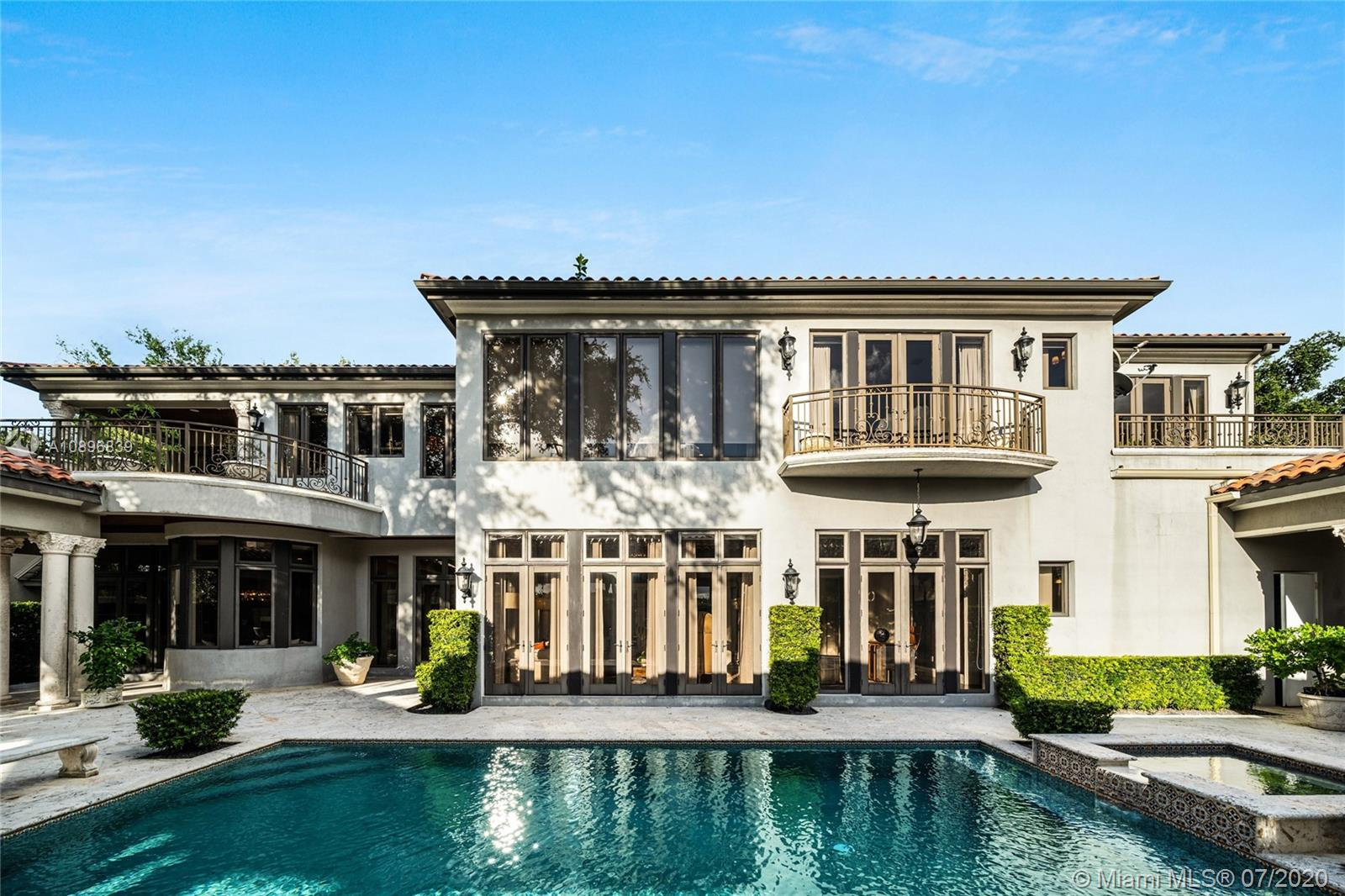 Built in 2008 and designed by Architect Thomas Benedict, this charming Estate Home is located in the heart of the Gables set directly in front of the 5th hole of the Riviera Golf Course. With more than 5,800SF of living space this home has 6 bedrooms, 6.5 bathrooms, formal dining with adjacent wine cellar, fireplace, elevator, eat-in gourmet kitchen with family room, high ceilings, upstairs sitting area, surround sound system and more. Enjoy a private outdoor oasis with a covered patio surrounding the heated pool and spa, Summer kitchen with outdoor fireplace and a separate 1 bedroom, 1 bathroom pool house all overlooking the Riviera Golf Course.