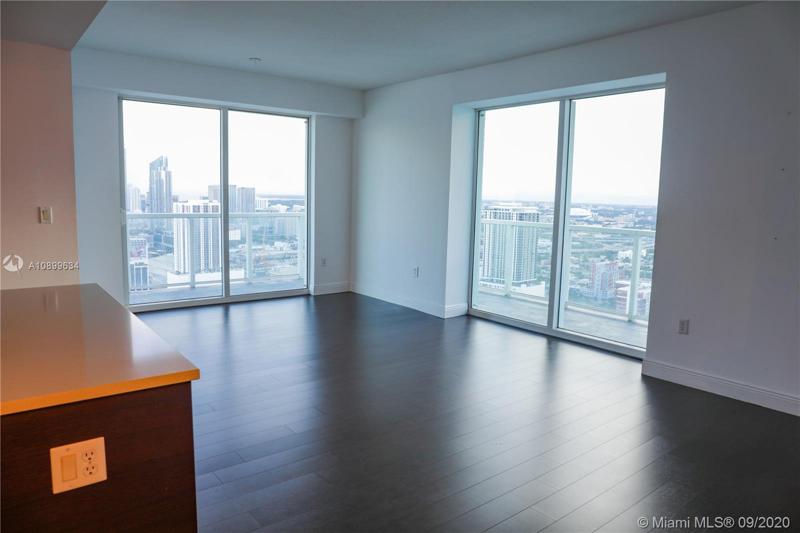 ONE OF THE BEST VIEWS IN MIAMI.  This apartment is a box in the sky with good size bedrooms, big windows, privacy and views everywhere.  Available from 8/15