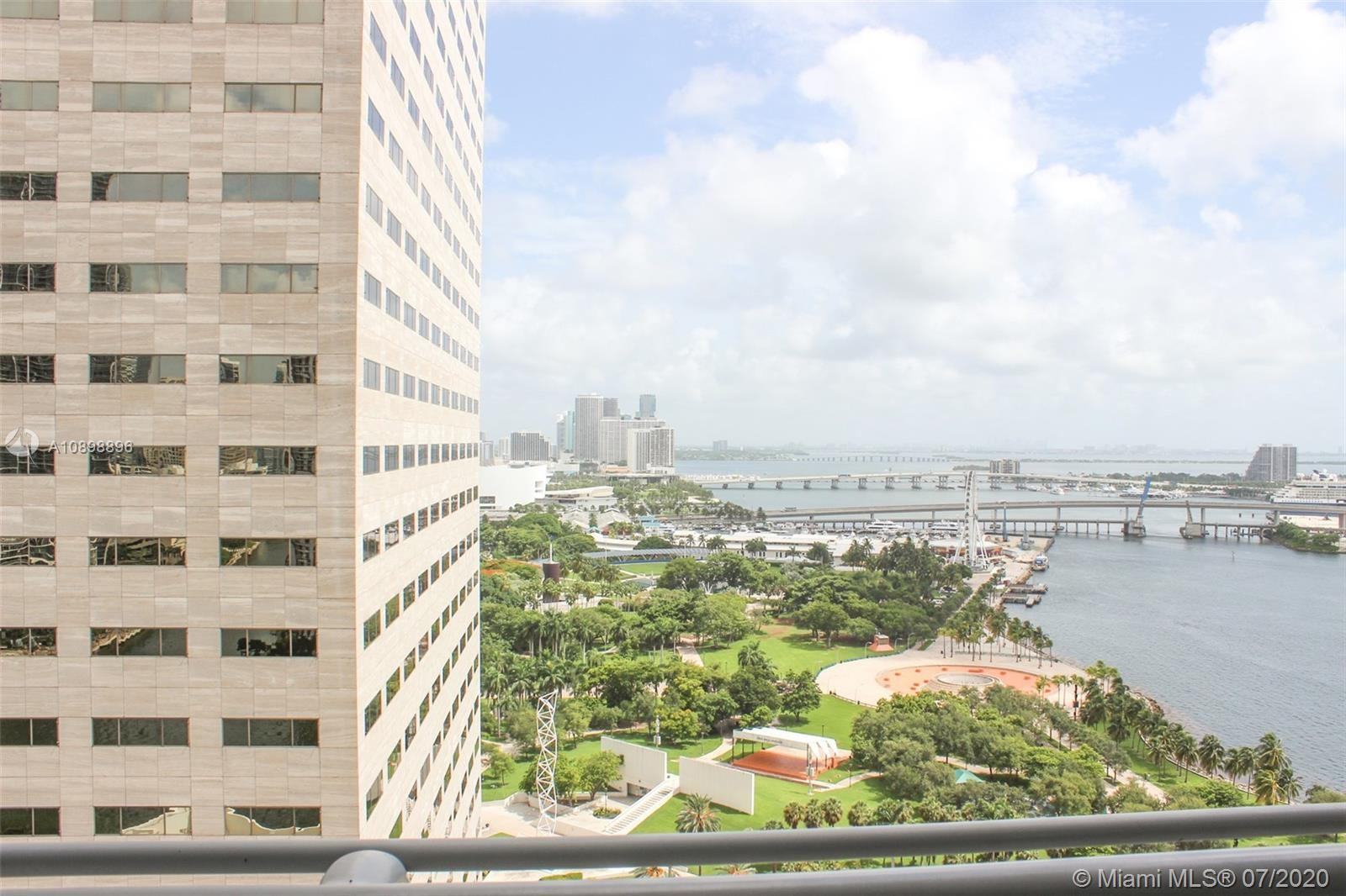 This beautiful and spacious 2-bedroom 2-bathroom corner unit on the 25th floor, offers spectacular city and bay views of Downtown Miami. Tucked privately away on the waterfront and yet walking distance to American Airlines Arena, Bayfront Park, Whole Foods, Brickell City Center and all splendor that Downtown has to offer. This lovely unit has granite counter-tops, stainless steel appliances, washer and dryer combo and is being sold fully furnished. This building is extremely desirable and some of its features include; two pools, a fitness center, 24hr security, valet and high-speed elevators just to name a few. This gorgeous unit is available today!