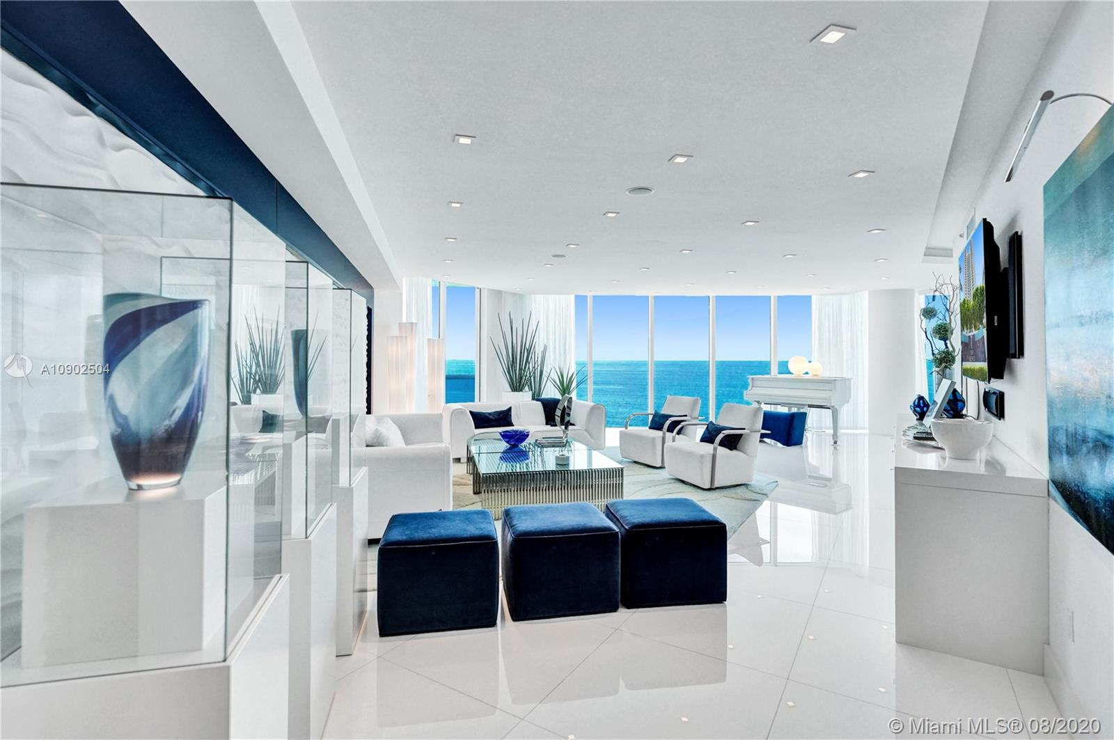 WOW! THE CROWN JEWEL OF LUXURIOUS TRUMP HOLLYWOOD! PANORAMIC DIRECT OCEAN VIEWS! NO EXPENSE SPARED! THIS FABULOUS UNIT FEATURES 3BD/3BR, BREATHTAKING VIEWS IN EVERY DIRECTION. PRIVATE ELEVATOR ENTRANCE, HIGH CEILINGS, FLOOR TO CEILING GLASS WINDOWS, FINEST FINISHES!  Stunning! Exquisite Lobby, Unsurpassed Amenities incl. Breakfast Room, Wine + Cigar Lounges, Fitness Center, Spa, Massage Rooms, Theater, Party Room, Caterer's Kitchen, Pool + Beach Service, 24 hr Security, Valet. 2 PARKING SPACES & HUMIDOR.  CABANA NEGOTIABLE.