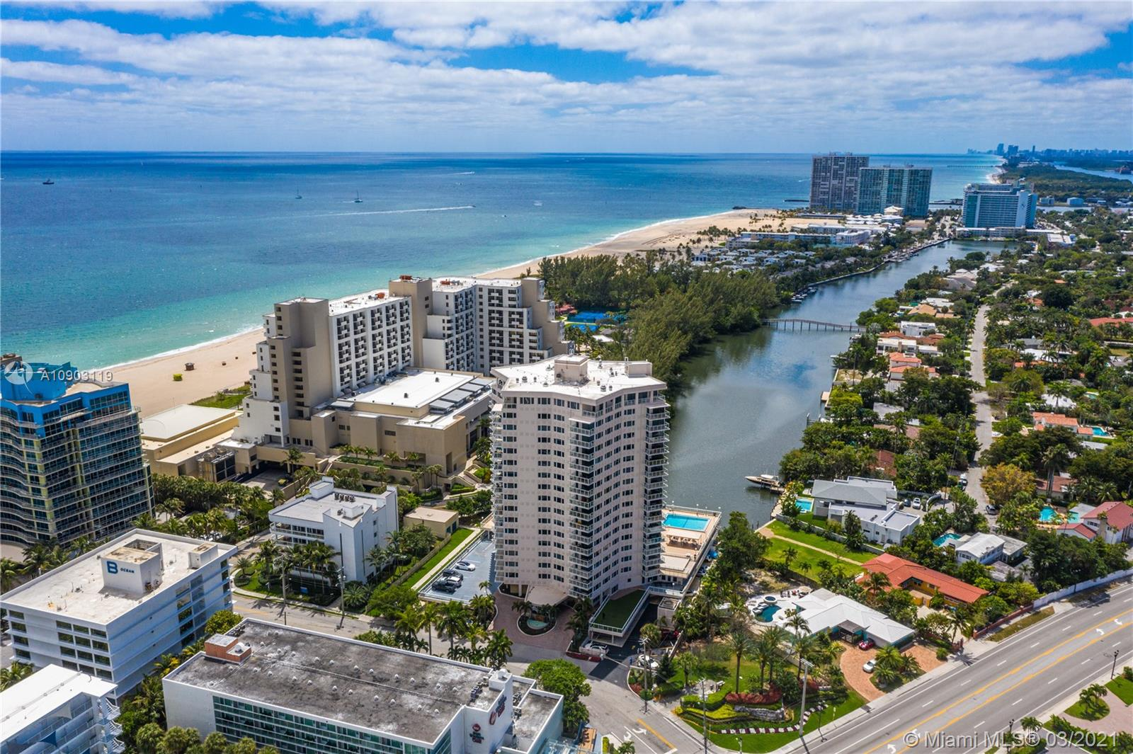 Enjoy everything Fort Lauderdale Beach has to offer in this beautifully renovated 2 bedroom, 2 bathroom condo east of A1A.  Spacious, 1609 square foot southwest corner unit with views of the Intracoastal and Lake Mayan.  Building amenities include a large pool area, covered parking, community room and a gym featuring a Peloton.  Large impact windows bring the views to every room.