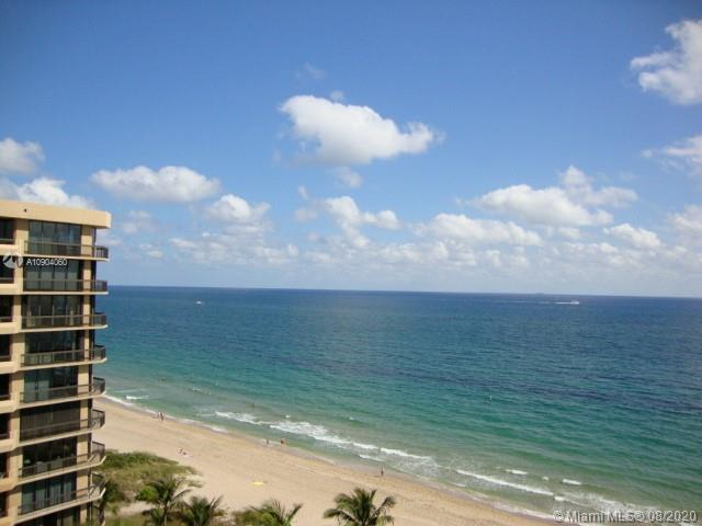 Direct Ocean view unit has been completely upgraded. FULL VIEW IMPACT SLIDERS from Kitchen to oversize 12 x 18 balcony. All windows and doors are IMPACT GLASS. Ocean views from master bedroom, kitchen and living. Best line in the building. Guest Bath marble walk in shower. 2 Large Walk in Closets 6 x 9. Split bedrooms. Foyer entry w formal dining, eat in kitchen and large table on balcony. Granite kitchen counters, upper and lower lighting, combo washer/dryer. move in ready... Maintenance includes basic cable and all amenities. Building has been completely renovated 24 hr/ security ,exercise, billiard and club rooms. Pool has views of the beach and Atlantic Ocean. Complimentary guest parking.
