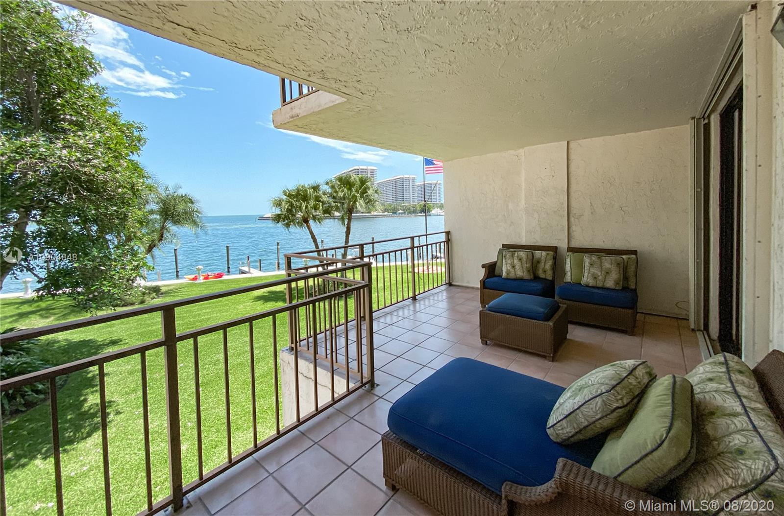 This hidden waterfront gem offers 2 beds, 2.5 baths & multi million dollar water views over the Biscayne Bay/Ocean. This rarely available corner unit offers 1,139 SF & classic finishes. The open kitchen is great for entertainment & comes with beautiful granite countertops. The living room & master bedroom each have access to the balcony, the master has sliding doors that open to the living area for flexible use of open areas. The Pelican Reef condo offers only 3 units per floor & is located in the quiet & high-end neighborhood of Coconut Grove w/ superior water access, serene surroundings. It has completed major updates such as new A/C & new seawall & docks. Boat docks are available for lease. Additional features of this building are a wonderfully conceived pool area with a covered patio.