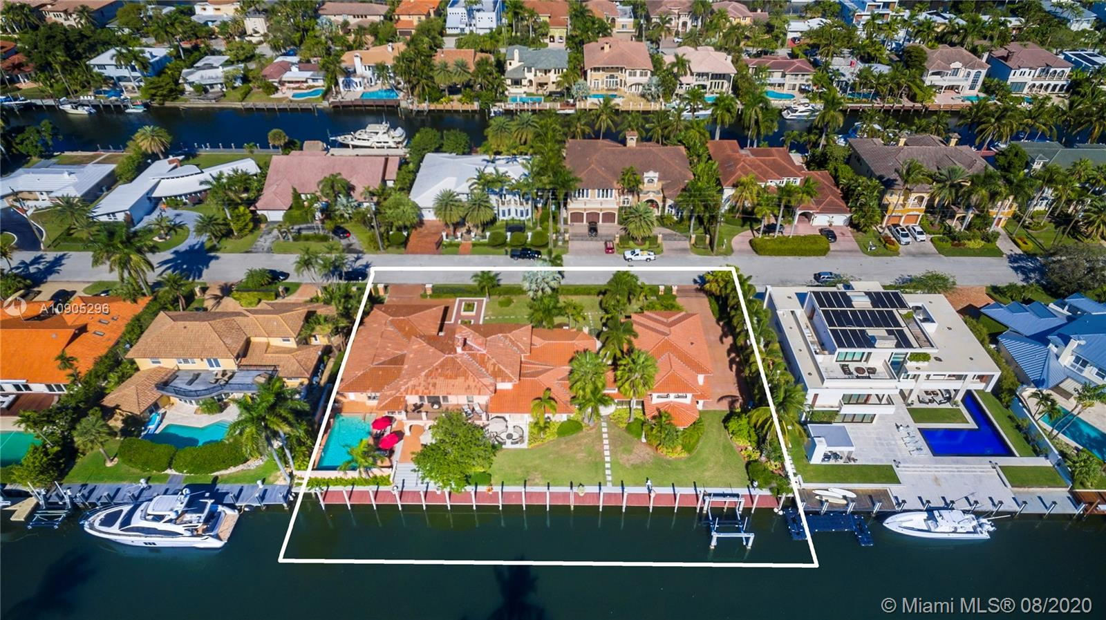 Large sprawling estate in coveted Seven Isles in Fort Lauderdale. Sitting on 200 ft of deep waterfrontage this property can be split into 2 lots. Amazing development opportunity! With a 26,024 square feet, this Mediterranean home boasts 8,000+ square feet of interior square footage. Located just minutes from the inlet, this location is truly priceless! This estate is gated with double entrances, features a large split floorplan, lush greenery, large chef's kitchen, a library and multiple spaces to entertain including a grand backyard. This property also features a guest house, private dock and boat lift with easy access as it's located only a few lots from the wide-open water. Don't miss this opportunity in this amazing location!