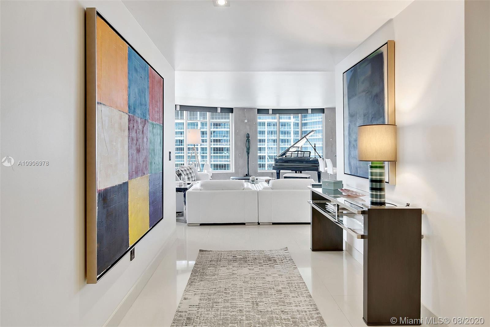 (optional) Fully furnished opportunity at exclusive Carbonell on Brickell Key! Designer's personal residence. Pamper yourself in luxurious style compliments of Fede Design. Unit offers south/west/north exposure w/great water/city views. Upgrades include Lutron elec. shades, Italian doors/hardware, natural wallpapers, all LED lighting, A/V system run on Sonos w/ built-in speakers. Open kitchen format allows for ultimate flexibility and exquisite flow. All upgraded SS appliances incl. Sub-Zero refrigerator. Elegant foyer makes a statement & you know you have arrived! Split master has 2 walk-in closets, sitting room & decorative fireplace. 2 huge balconies w/stunning vistas. Brickell Key offers a private island experience w/in walking distance to the heart of Miami. Also available for lease