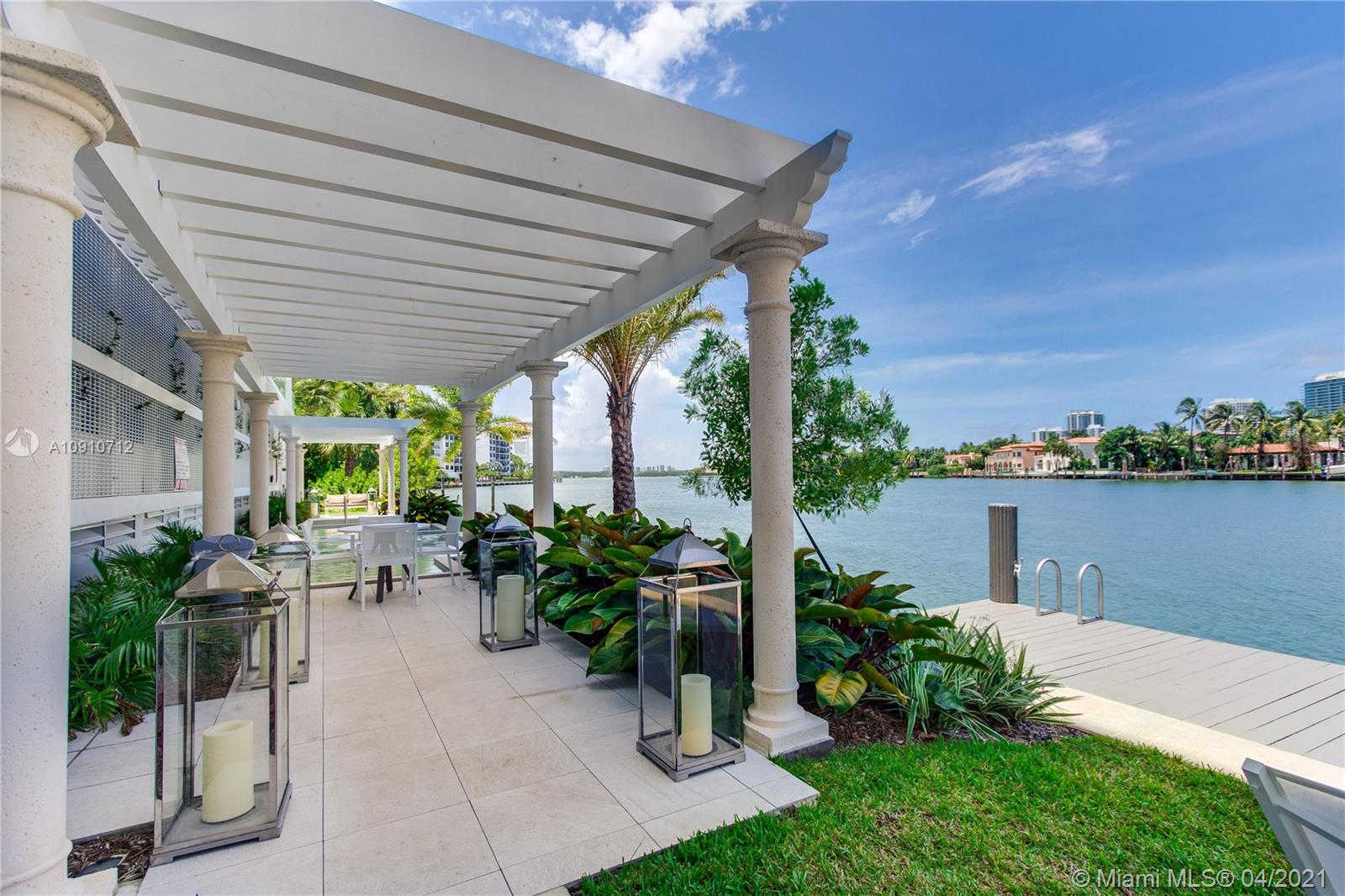 Luxury boutique building on the intracoastal in sought after Bay Harbor Islands. The interior is beautifully furnished in a clean contemporary style, relaxed with amazing views of the intracoastal waterway from a wide curving balcony, floor to ceiling windows and sliding doors, kitchen and bathrooms fitted with European cabinetry and quartz countertops, marble floors in the bathrooms. The building boutique style offers on the third floor deck zero edge sunset pool with boomerang shape infinity Hot-Tub and cascading waterfall, fitness facilities, steam room and showers, also Bayfront water deck, Hot-Tub and Summer Kitchen, water sports such as paddle boarding and kayaking. Unit come with Storage