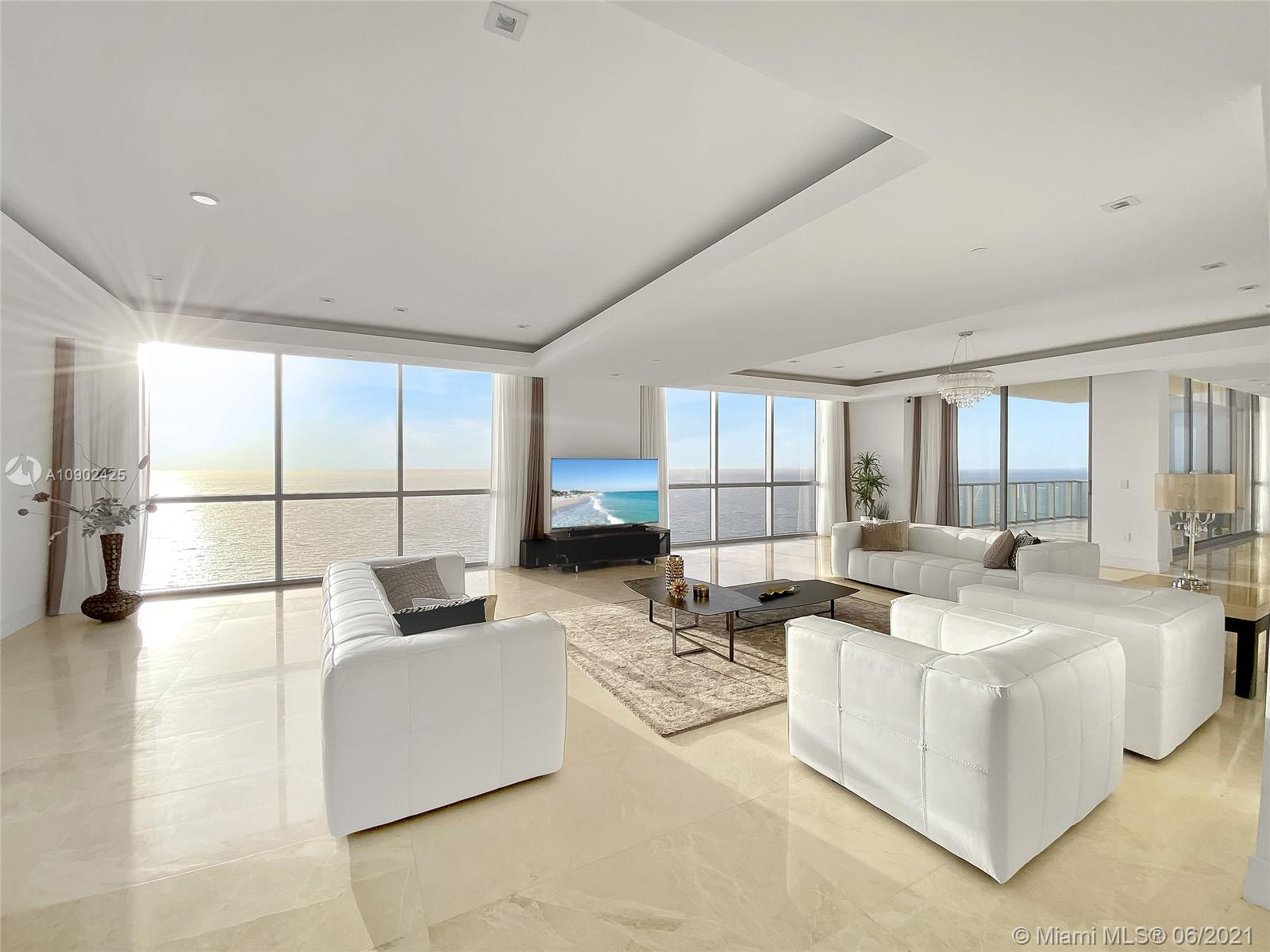 Live the 5-star luxury resort lifestyle from the entire full floor Tower Suite at the very exclusive and private Mansions at Aqualina in Sunny Isles, Florida. This full-floor includes 4 bedrooms, 5 and a half bathrooms for a total of 9,218 sqft. Unit features stunning marble and wood floors, floor to ceiling high-impact windows, full bar, gourmet kitchen with top appliances, and outdoor summer kitchen with a barbecue, This Oceanfront mansion in the Sky includes 4 terraces, a private pool/jacuzzi, and 360-degree views of the Ocean, Intracoastal and Miami's skyline. The Tower Suite includes a private covered garage for 2 cars. The tower offers Doorman, 24-hour security, movie theater, oceanfront exercise room, wine and cigar lounge, beach service, game room, soccer field, room service, more.