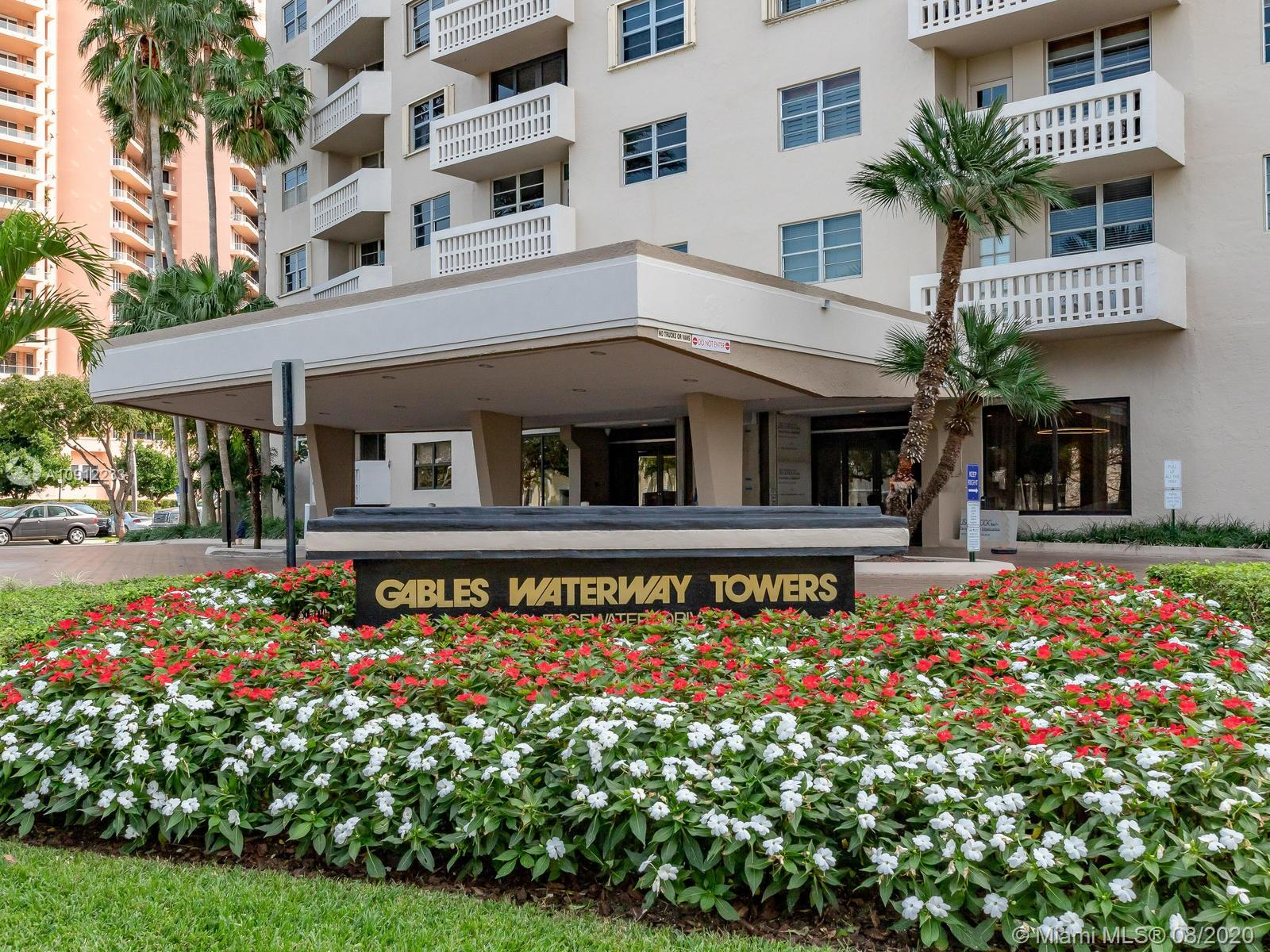 Newly reduced! 1/1.5 all updated unit in Gables Waterway Towers.  Beautiful waterfront bldg has just completed over $8M in renovations. Unit renovated with quality materials & impeccable taste.  New high impact sliding door to balcony, sound-proof wall, neutral colors, crown moldings, granite & wood kitchen w/cabinets on both sides & pull out drawers, new baths(tub not changed) ceramic flrs, ample closet space, balcony on shady side of bldg. Serene pool area by canal & docks, state of art gym, comm. rm, valet, consierge, manager on site, & more! 5 mins to South Miami, Grove, Gables, UM, A schools, parks, transportation & shopping.  Maintenance include a/c  & hot water elec.  Can't beat this building!!!