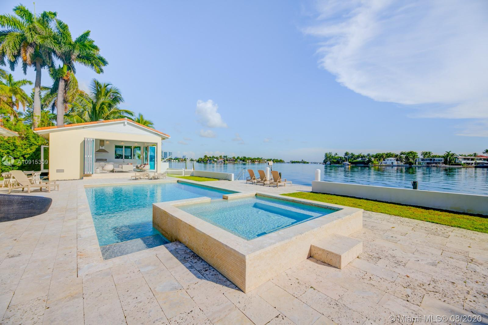 Welcome to one of the most luxurious and prestigious waterfront homes on Hibiscus Island Miami Beach! This waterfront property faces North with open waterways and 120 Feet of water frontage to fit your yacht and jet skis. The home is tastefully remodeled with floor to ceiling high impact windows, new kitchen with Wolf appliances and new bathrooms. It also features an indoor BBQ grill Cabana with a fully equipped kitchen and bathroom for your guests. The pool and jacuzzi have also been remodeled and updated with a new pool deck. The home is 3,488 sq ft living space on a 21,000 sqft Lot, equipped with state of the art security cameras and entertainment system. The property is fully gated along with a 24hr manned police officer at the main gate giving you high level security.